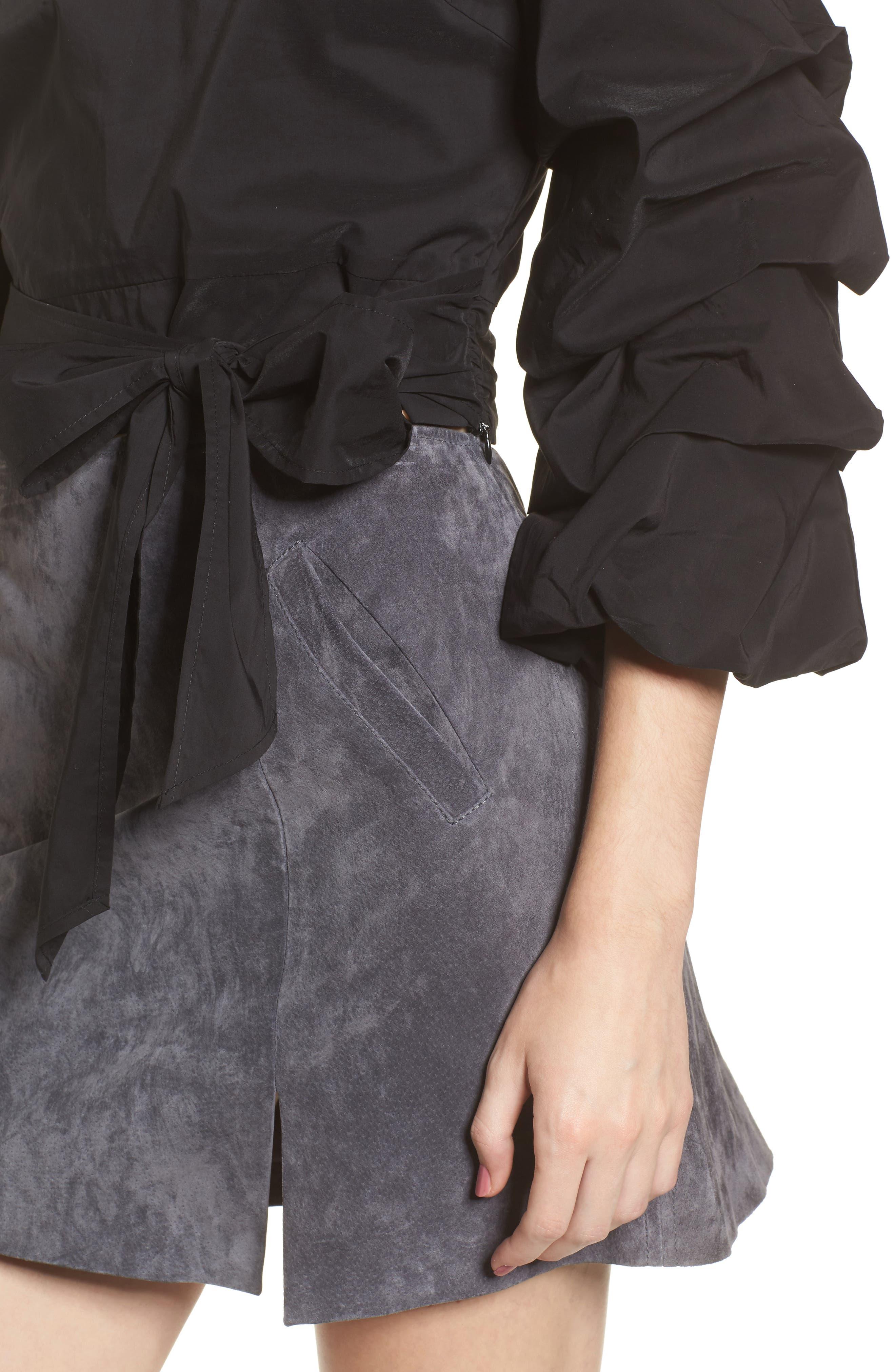 Ruffle One-Shoulder Blouse,                             Alternate thumbnail 4, color,                             Black