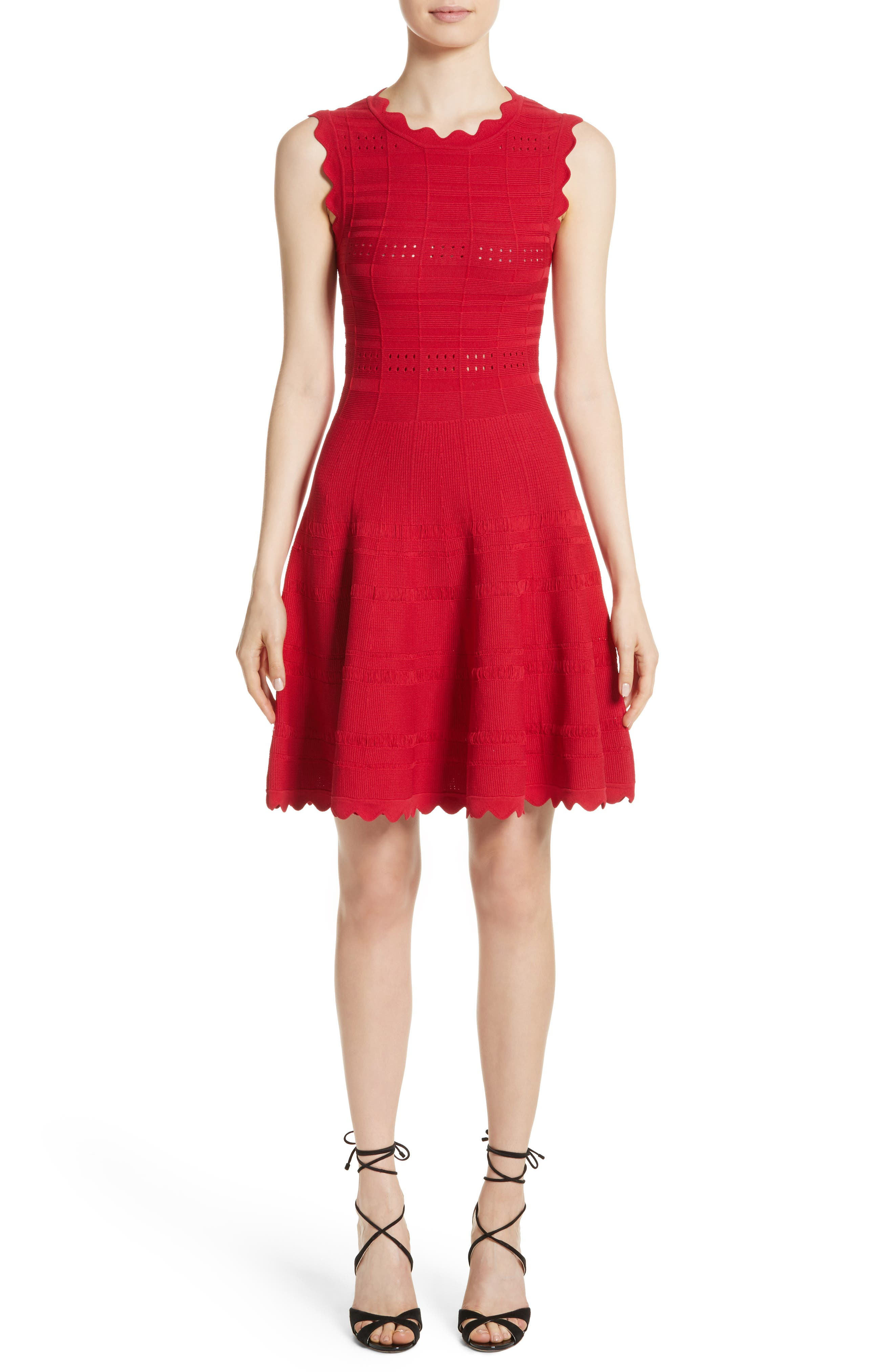 Scallop Trim Knit Dress,                         Main,                         color, Red