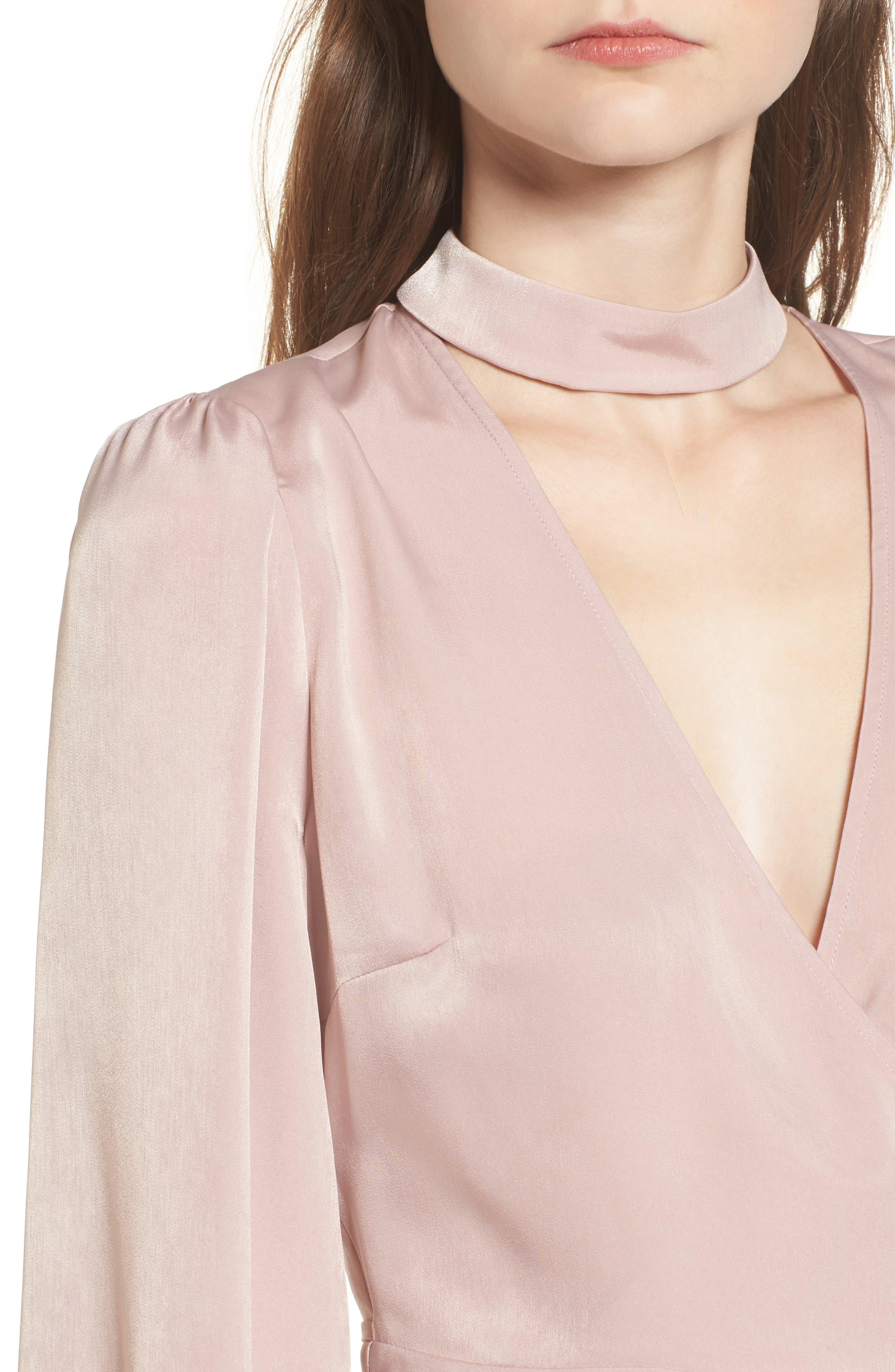 Choker Detail Wrap Blouse,                             Alternate thumbnail 4, color,                             Pink Adobe
