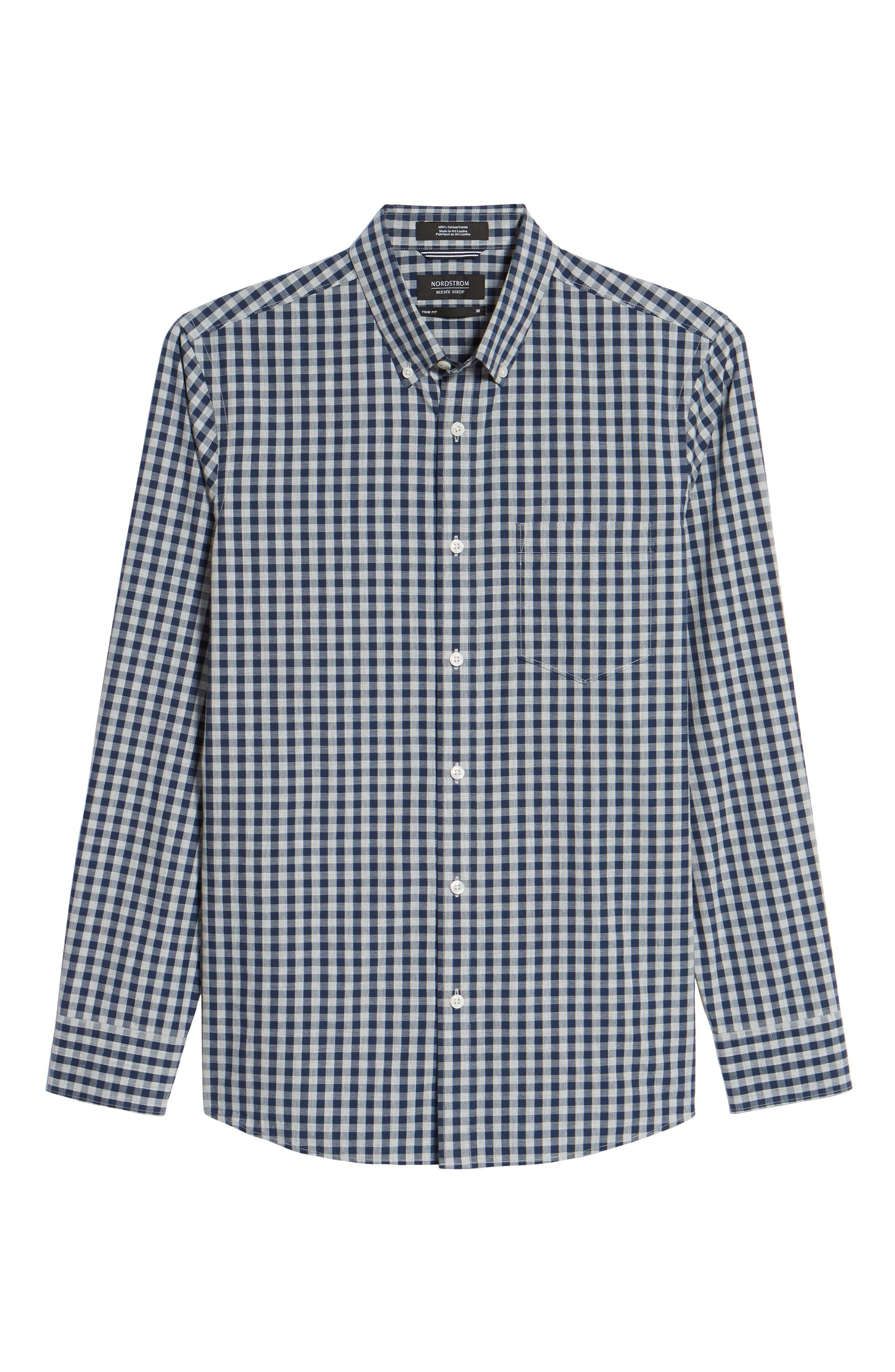 Spade Trim Fit Gingham Check Sport Shirt,                             Alternate thumbnail 6, color,                             Grey Shade Navy Gingham