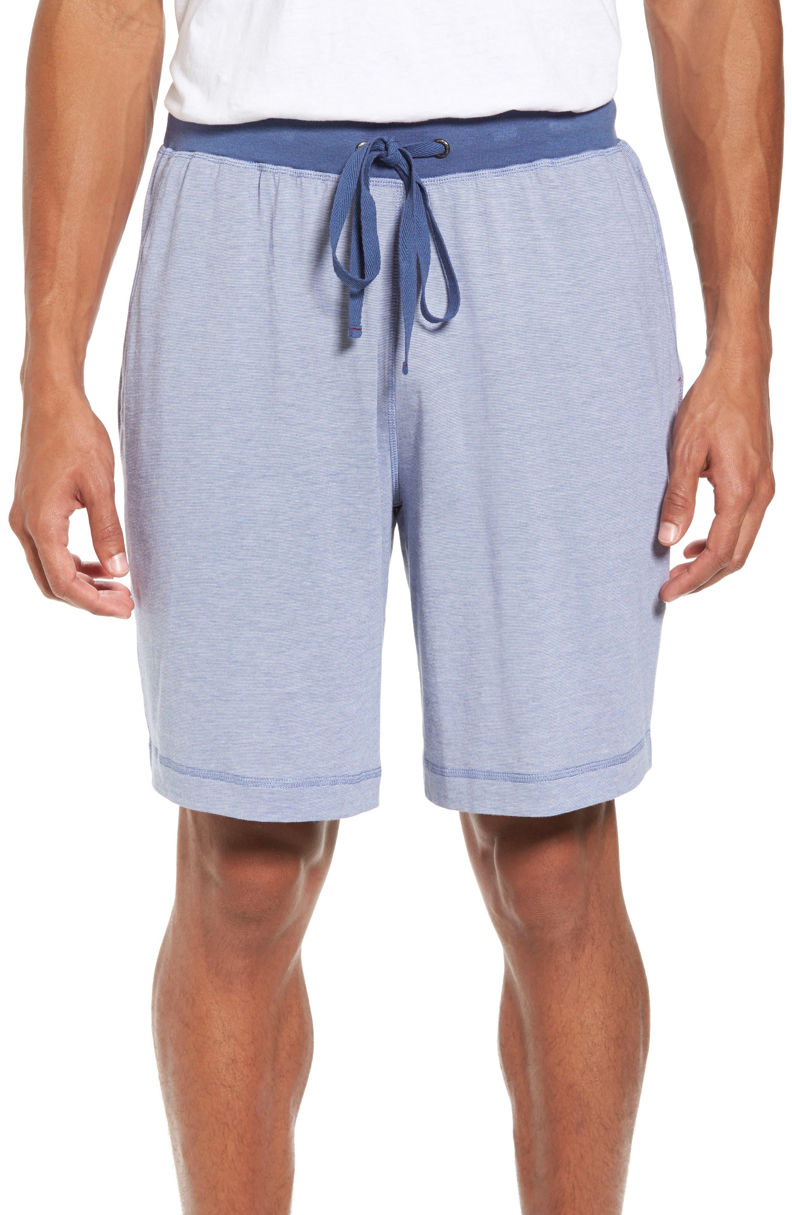 Pima Cotton & Modal Lounge Shorts,                             Main thumbnail 1, color,                             Blue/ Ivory