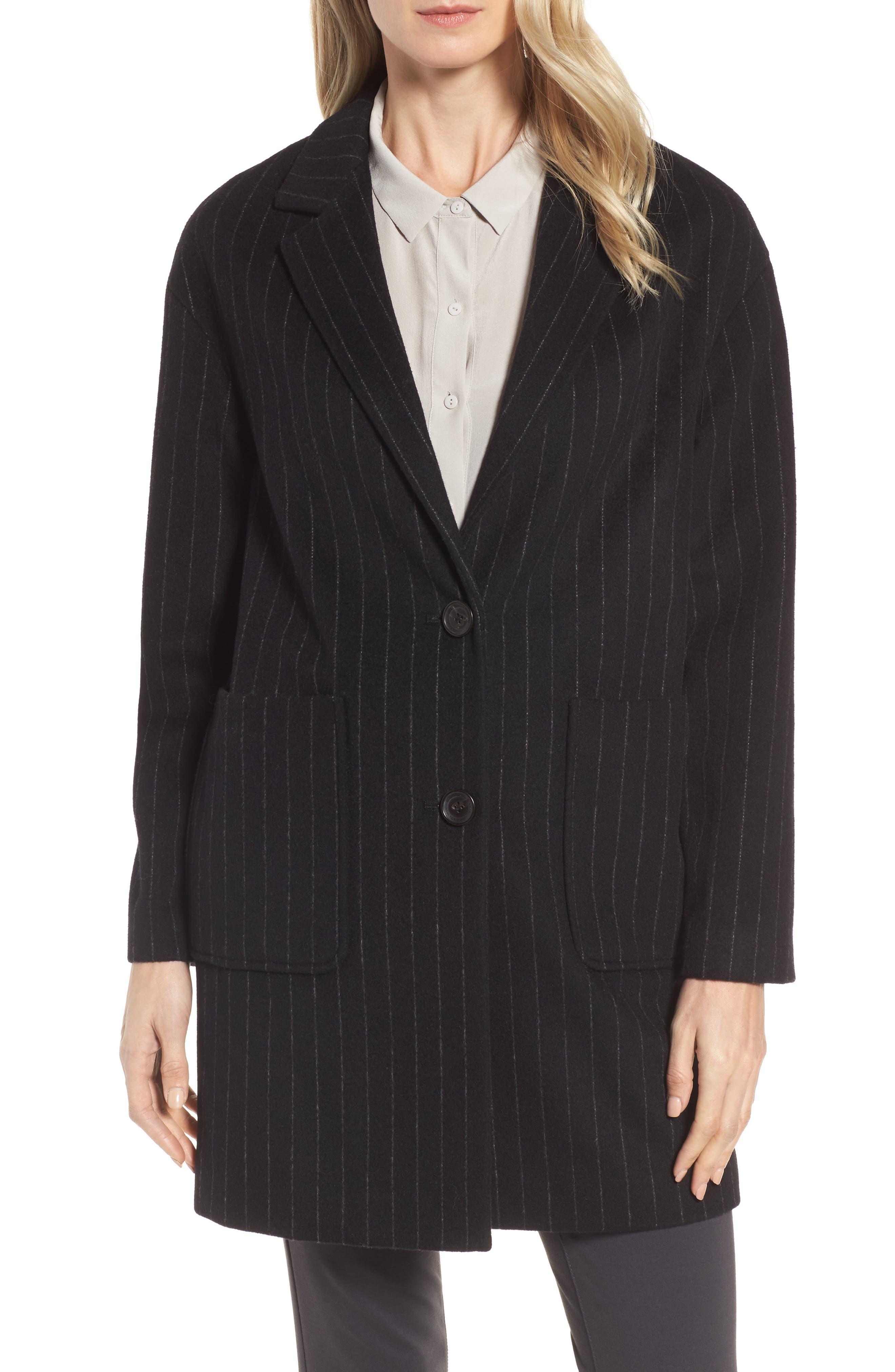 DKNY Pinstripe Wool Blend Coat,                             Main thumbnail 1, color,                             Black