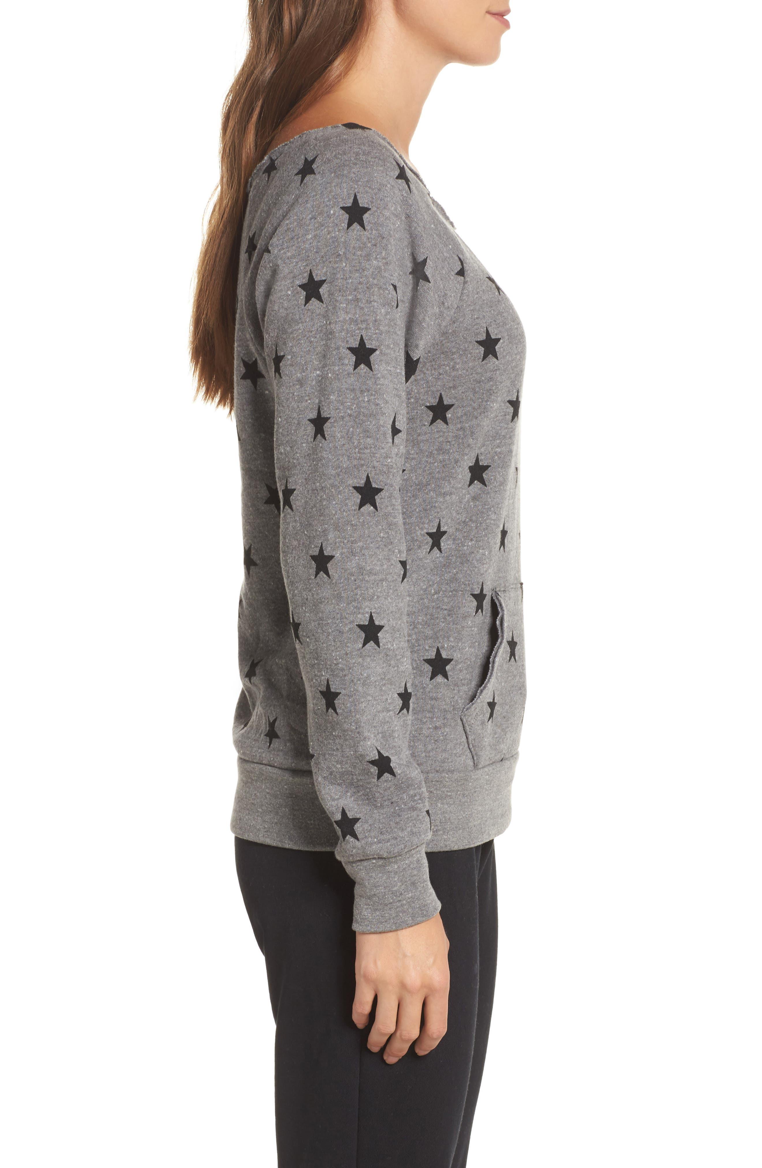 Maniac Camo Fleece Sweatshirt,                             Alternate thumbnail 3, color,                             Eco Grey Stars