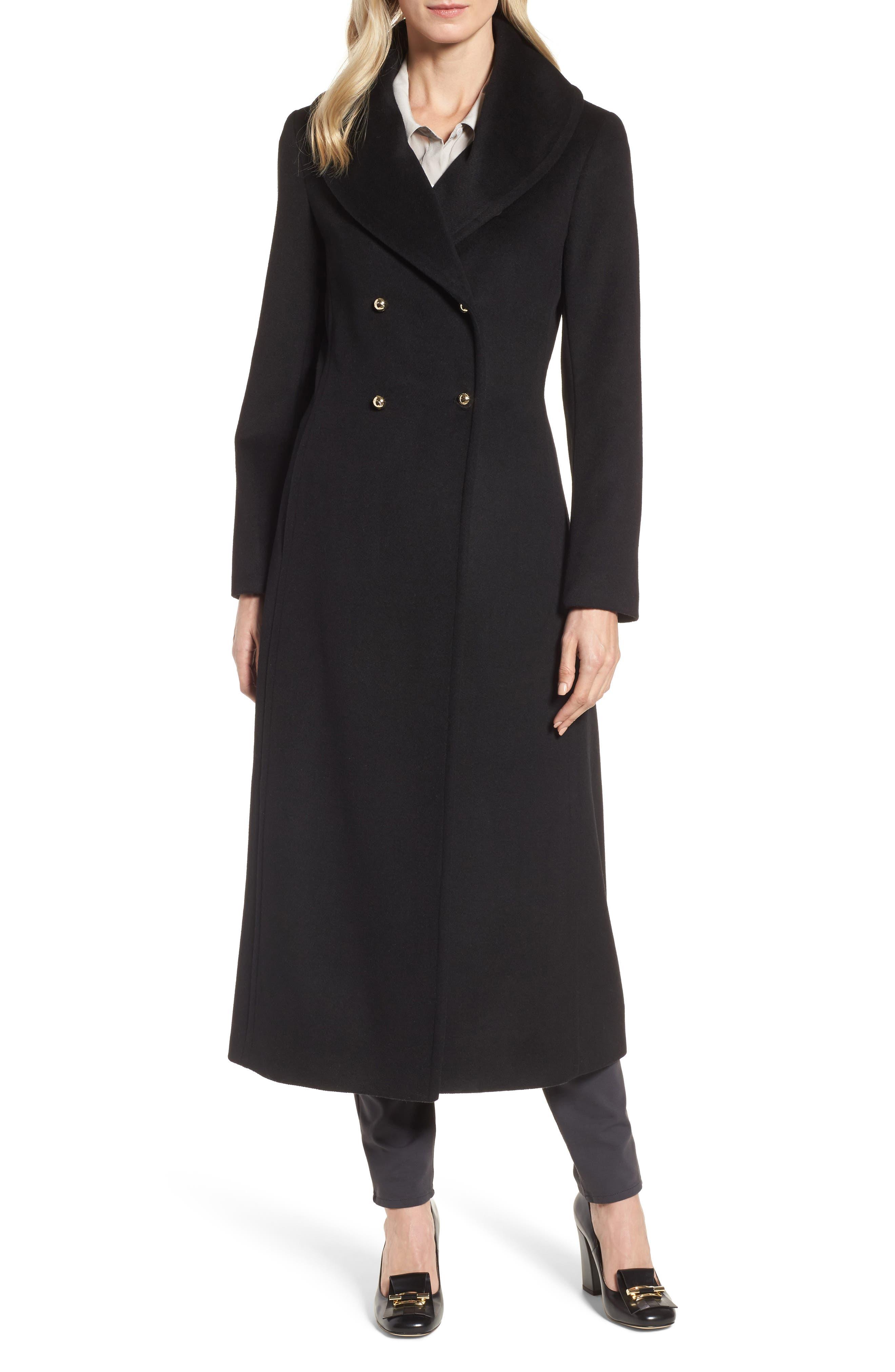 DKNY Wool Blend Felt Shawl Collar Coat