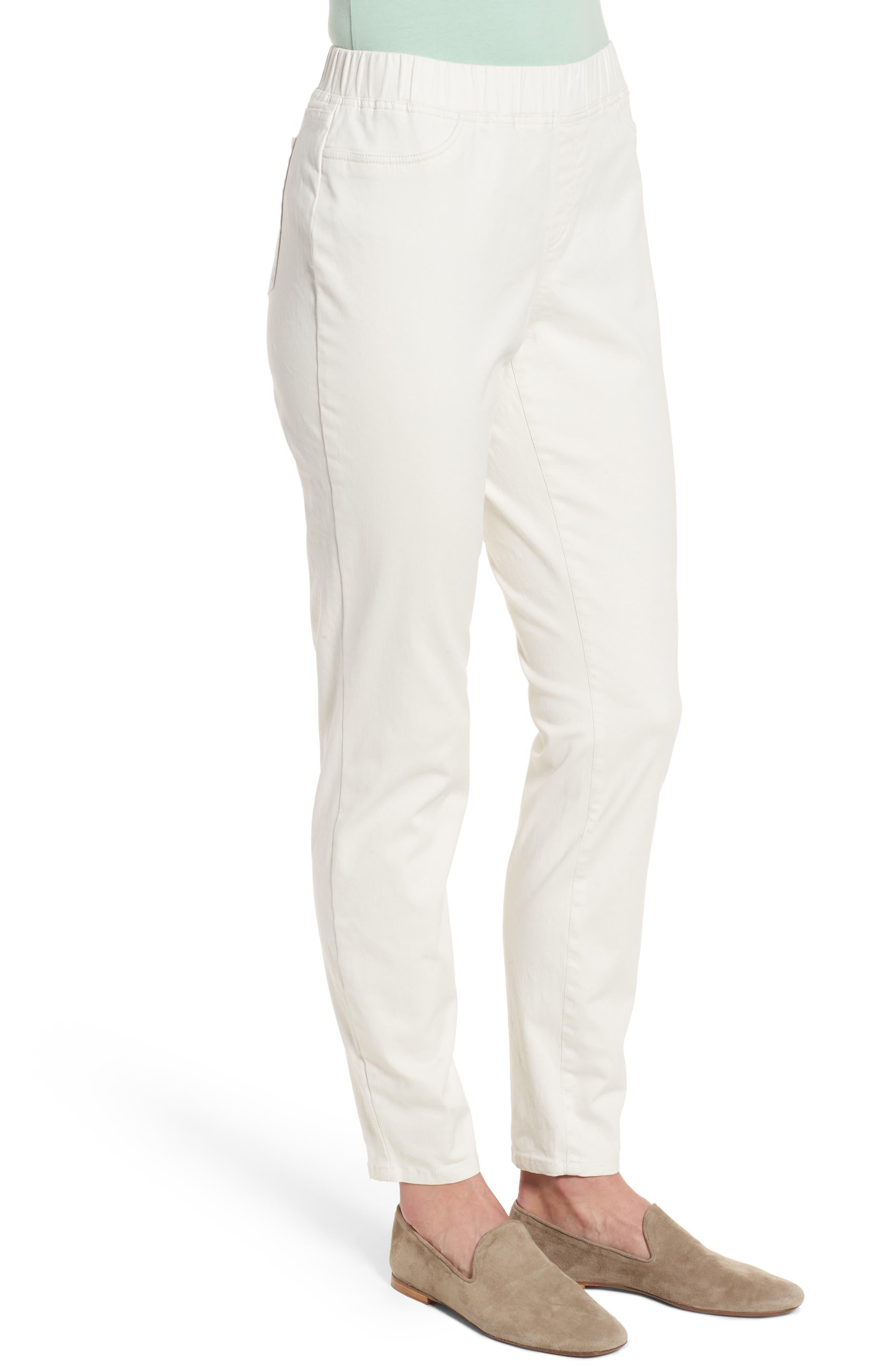 Stretch Organic Cotton Denim Skinny Pants,                             Alternate thumbnail 3, color,                             Bone
