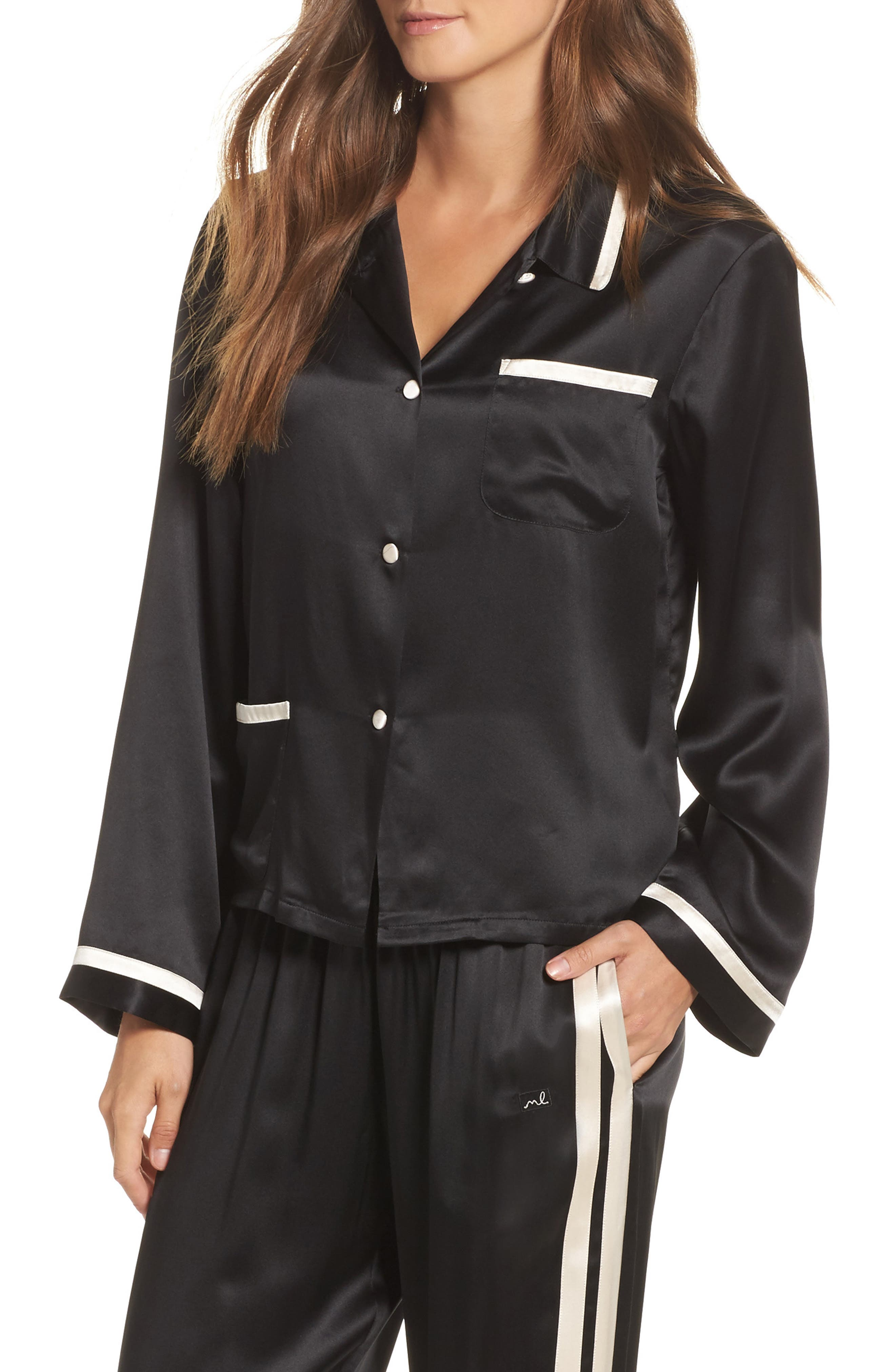 Ruthie Silk Charmeuse Pajama Top,                             Main thumbnail 1, color,                             Noir/ Vanilla