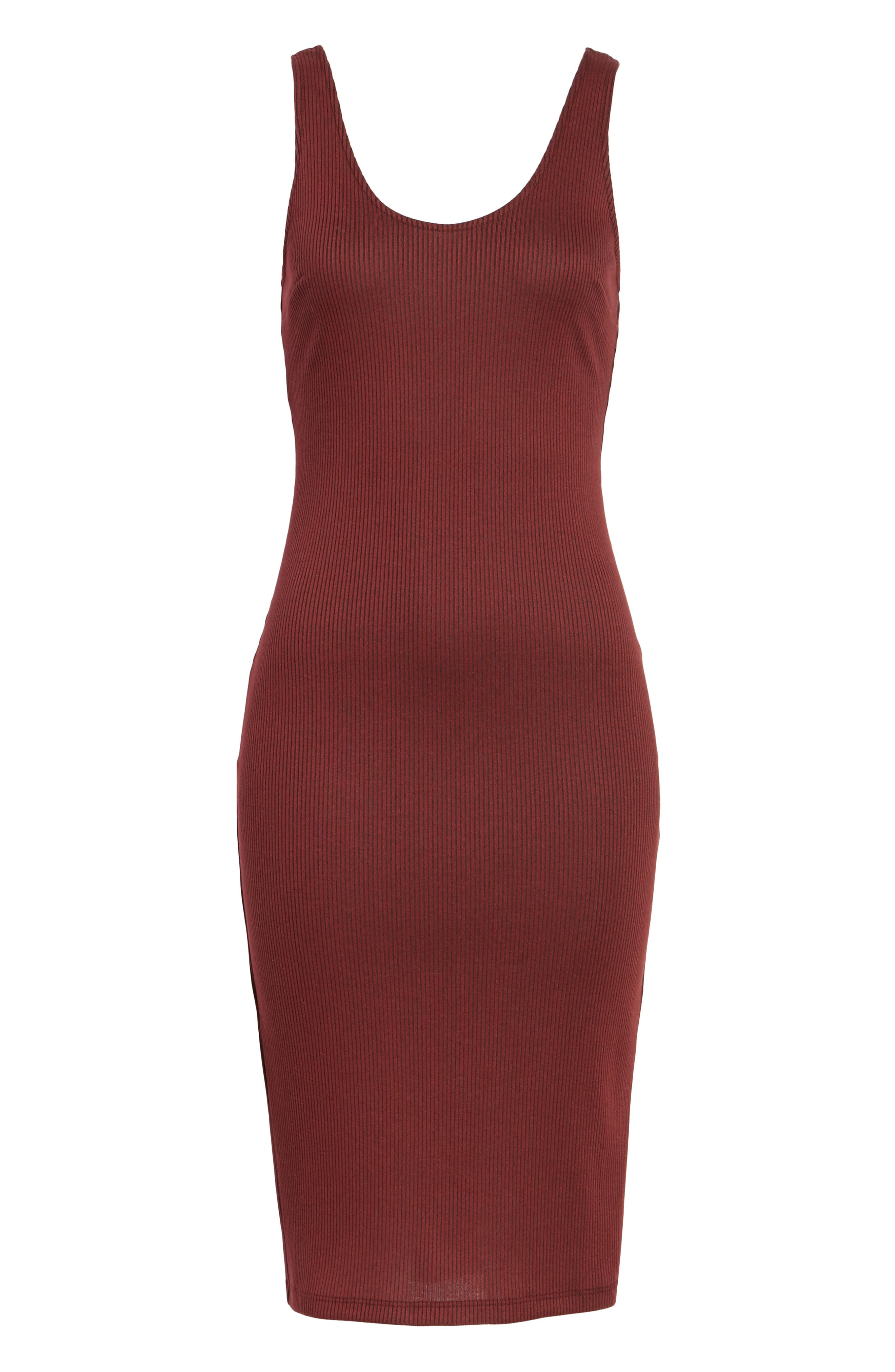 Ribbed Body-Con Midi Dress,                             Alternate thumbnail 6, color,                             Burgundy