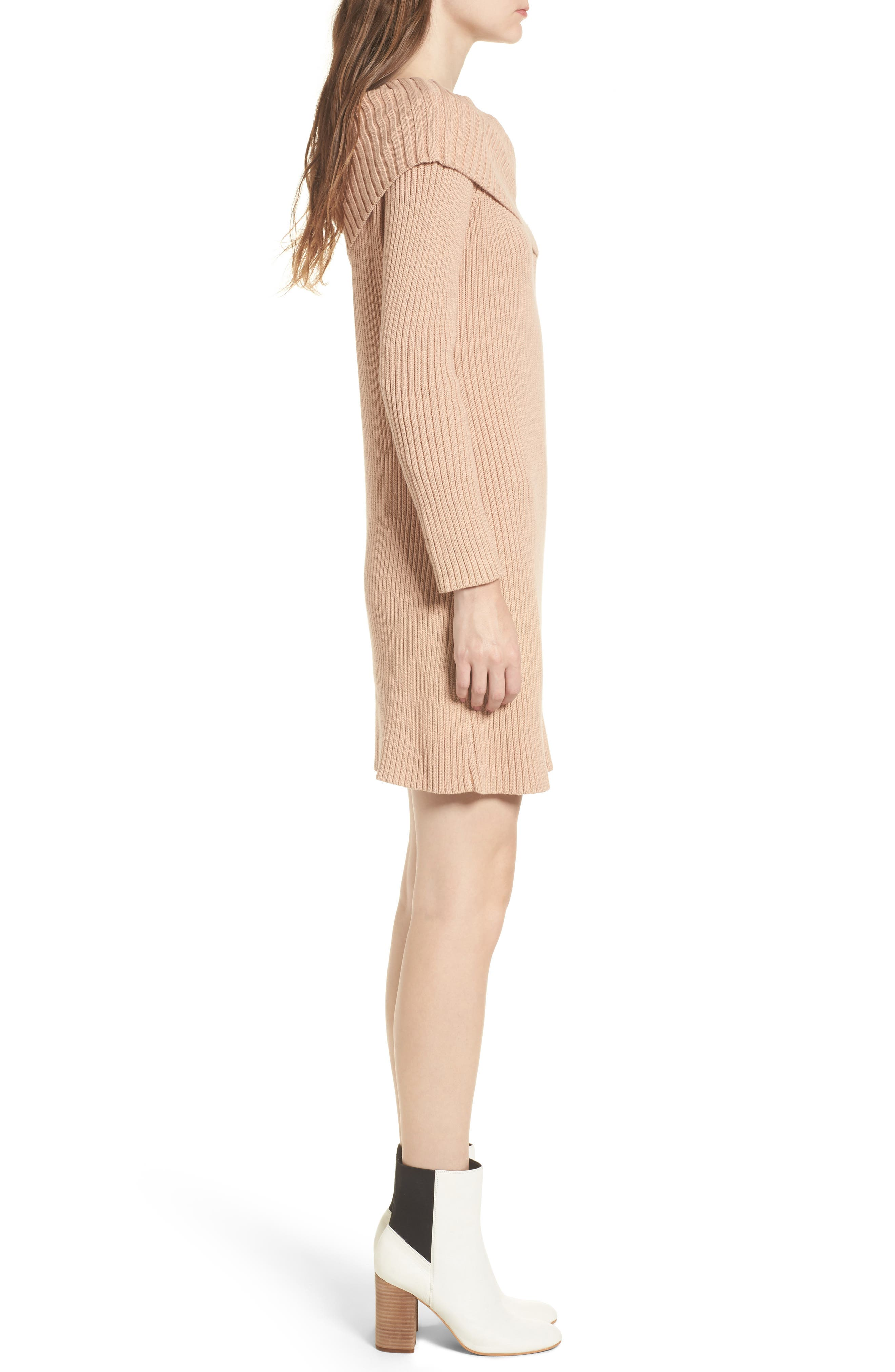 Like a Melody Off the Shoulder Dress,                             Alternate thumbnail 3, color,                             Dusty Pink