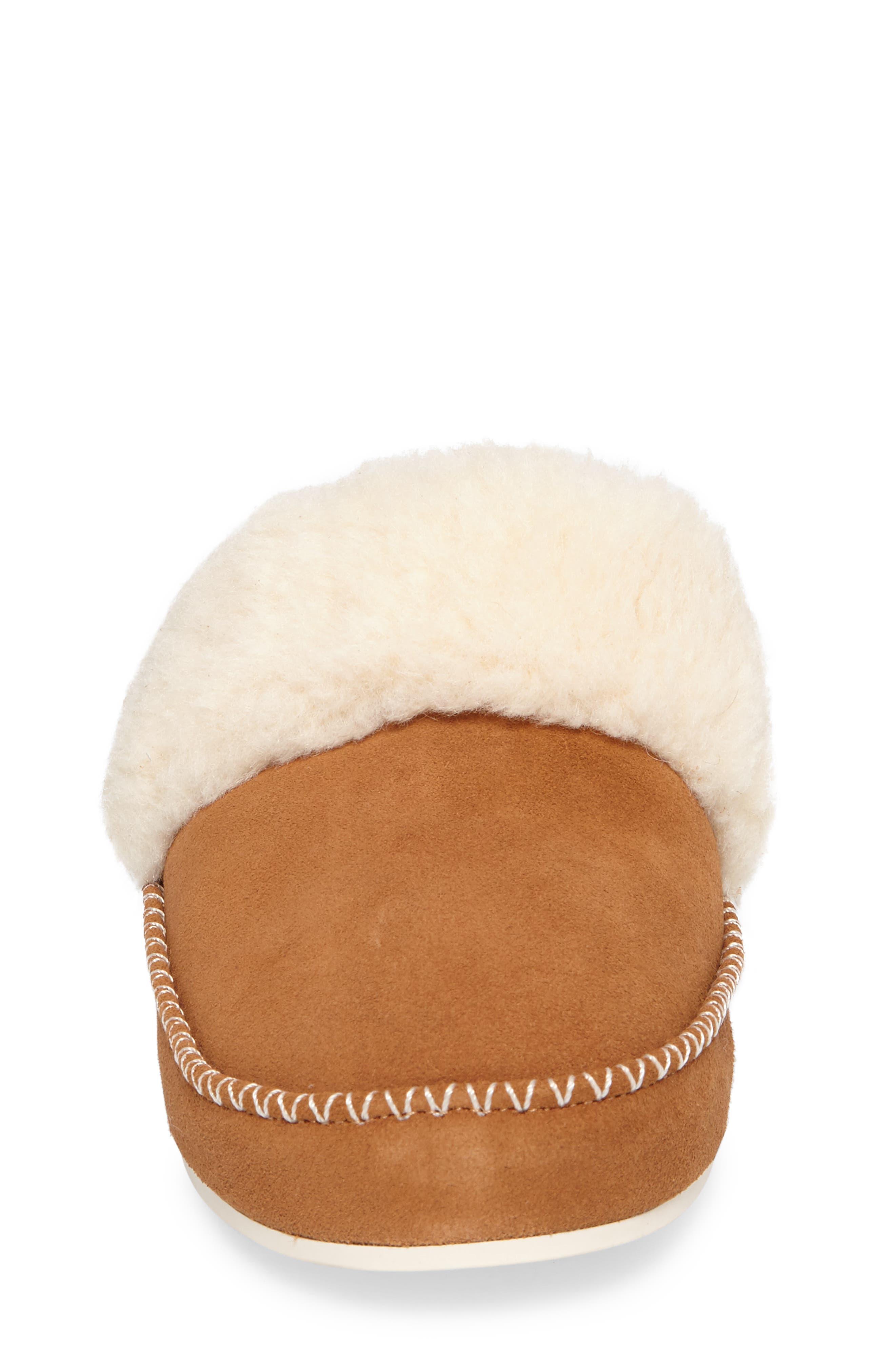 Marley Faux Fur Slipper,                             Alternate thumbnail 4, color,                             Chestnut Suede