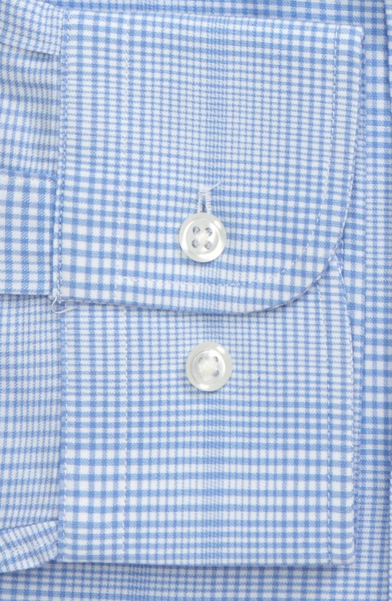 Tech-Smart Trim Fit Stretch Plaid Dress Shirt,                             Alternate thumbnail 4, color,                             Blue Hydrangea