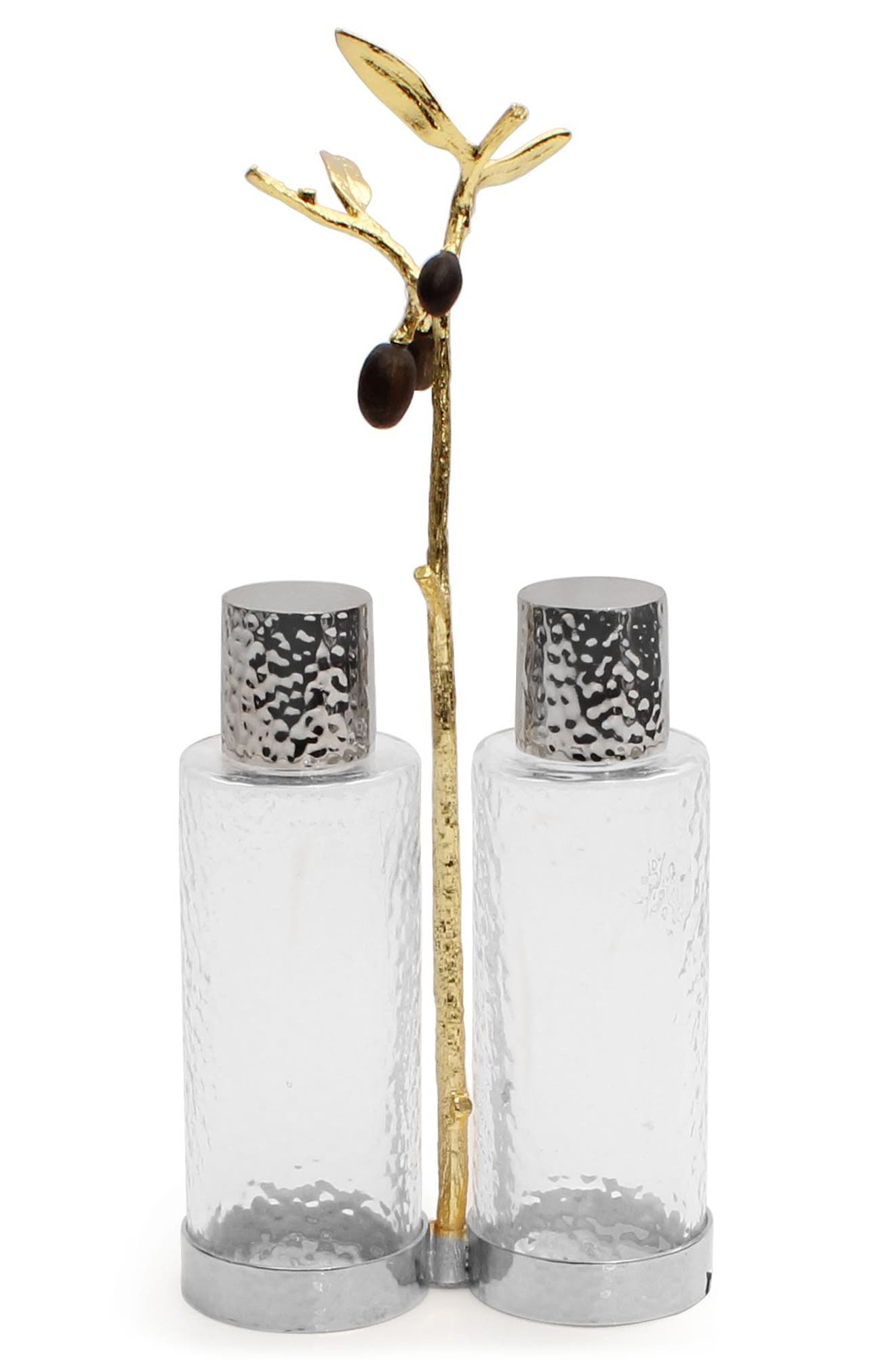 Olive Branch Cruet Caddy,                         Main,                         color, Silver/ Gold/ Black