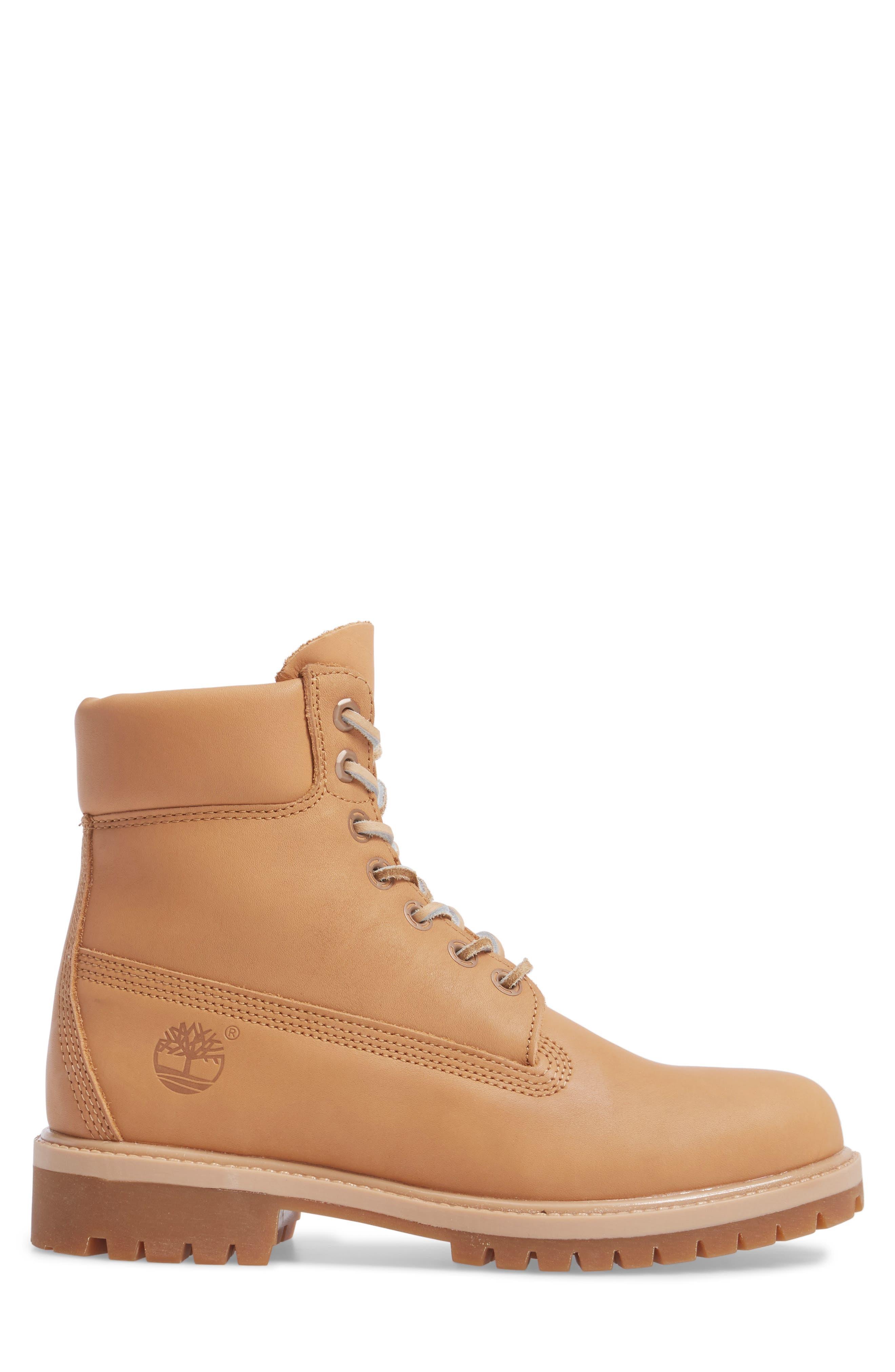 Premium Waterproof Plain Toe Boot,                             Alternate thumbnail 3, color,                             Natural Leather