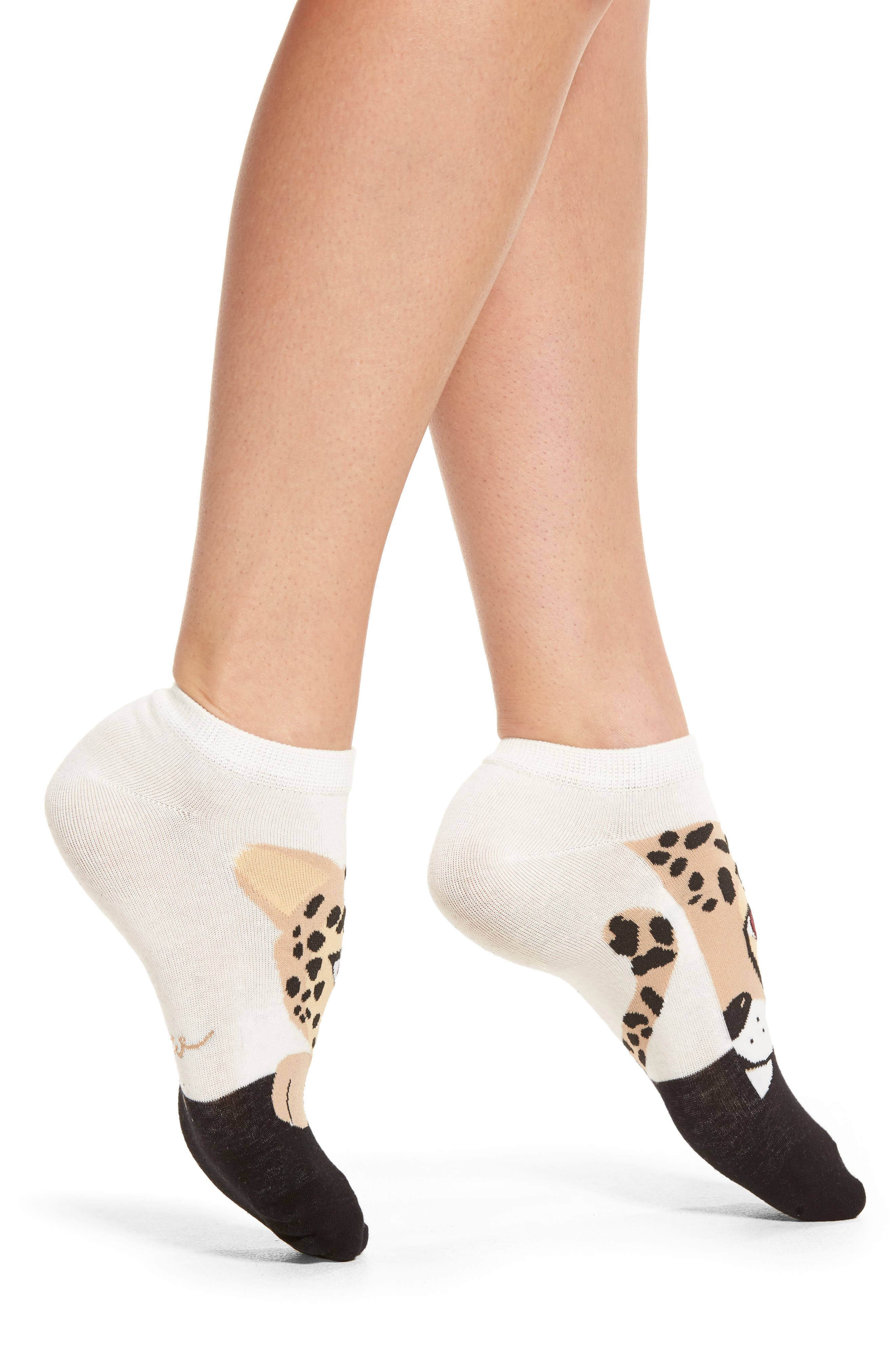 cheetah no-show socks,                             Alternate thumbnail 2, color,                             Cream