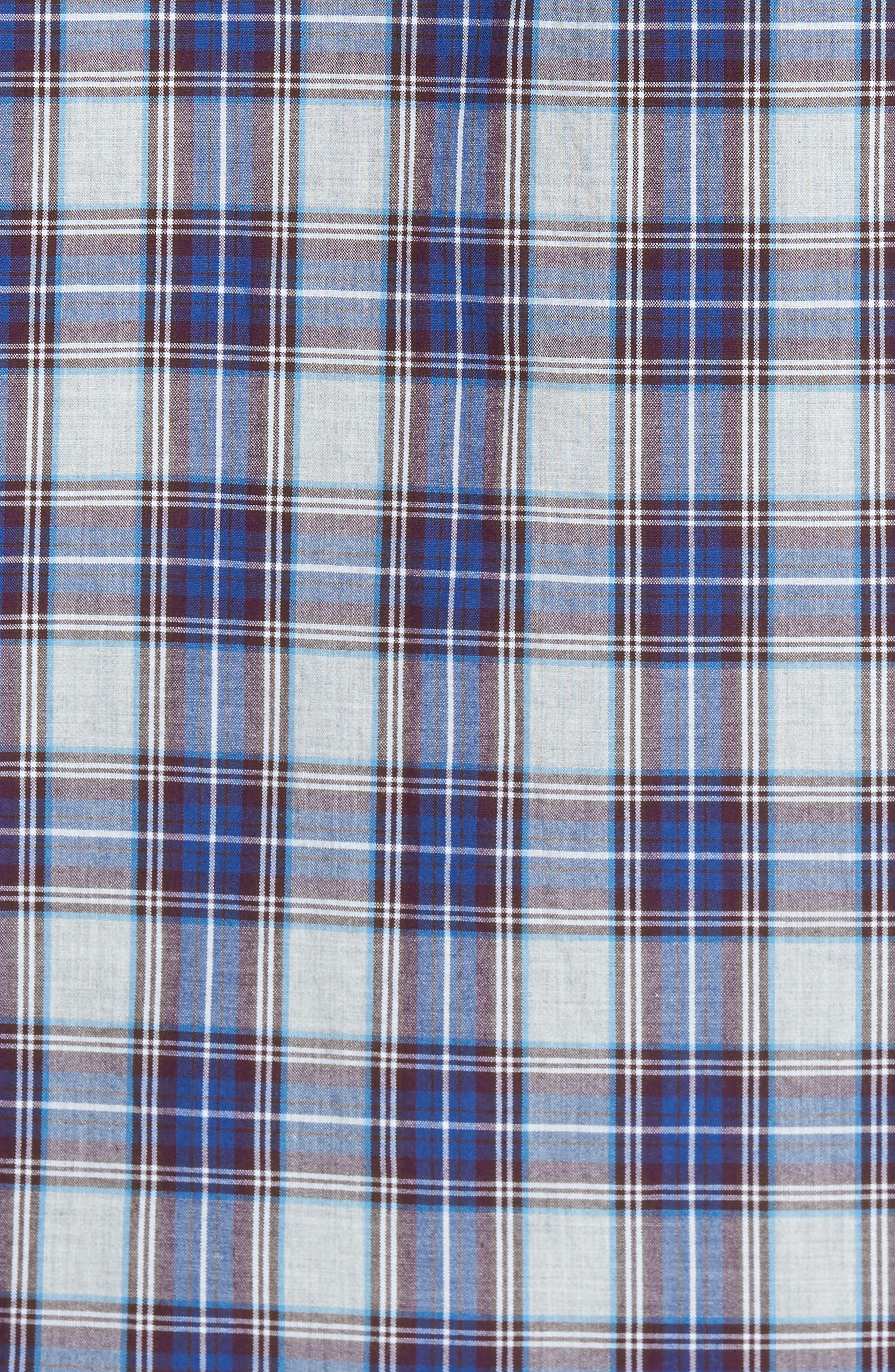 Slim Fit Washed Plaid Sport Shirt,                             Alternate thumbnail 5, color,                             Fallen Leaf Plaid