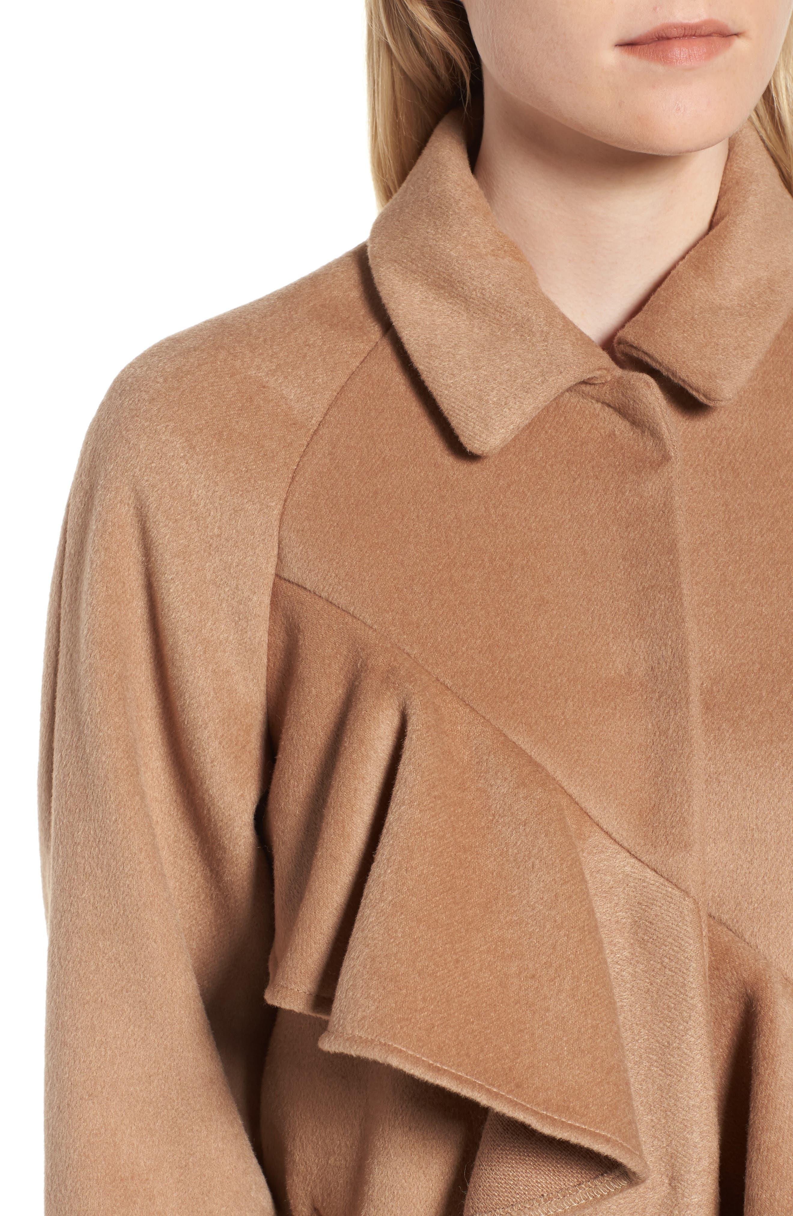 Frill Front Coat,                             Alternate thumbnail 4, color,                             Tan
