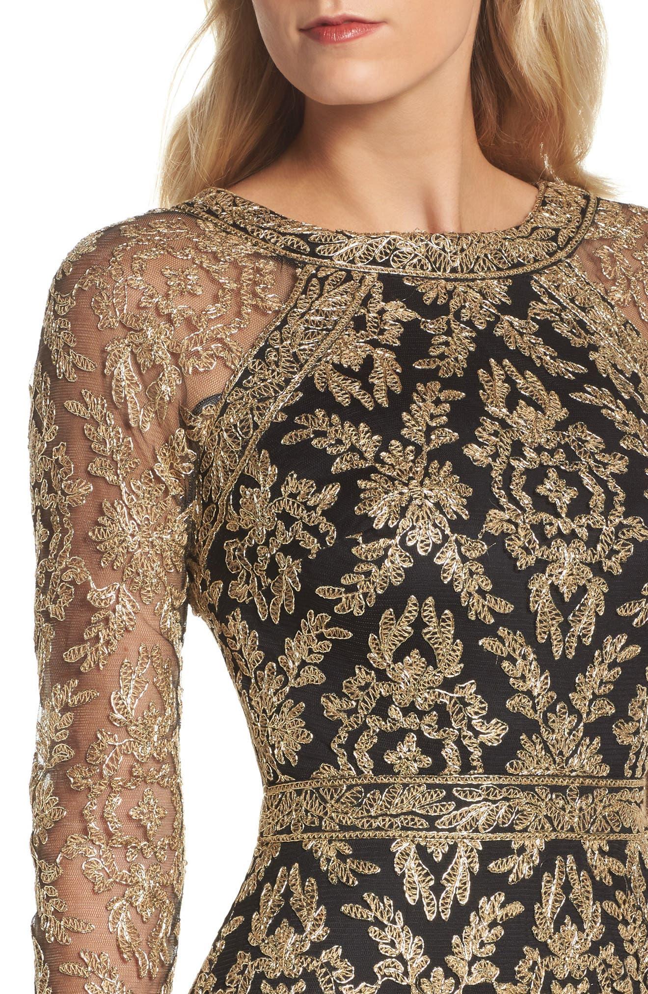 Alternate Image 4  - Tadashi Shoji Embroidered Lace Gown