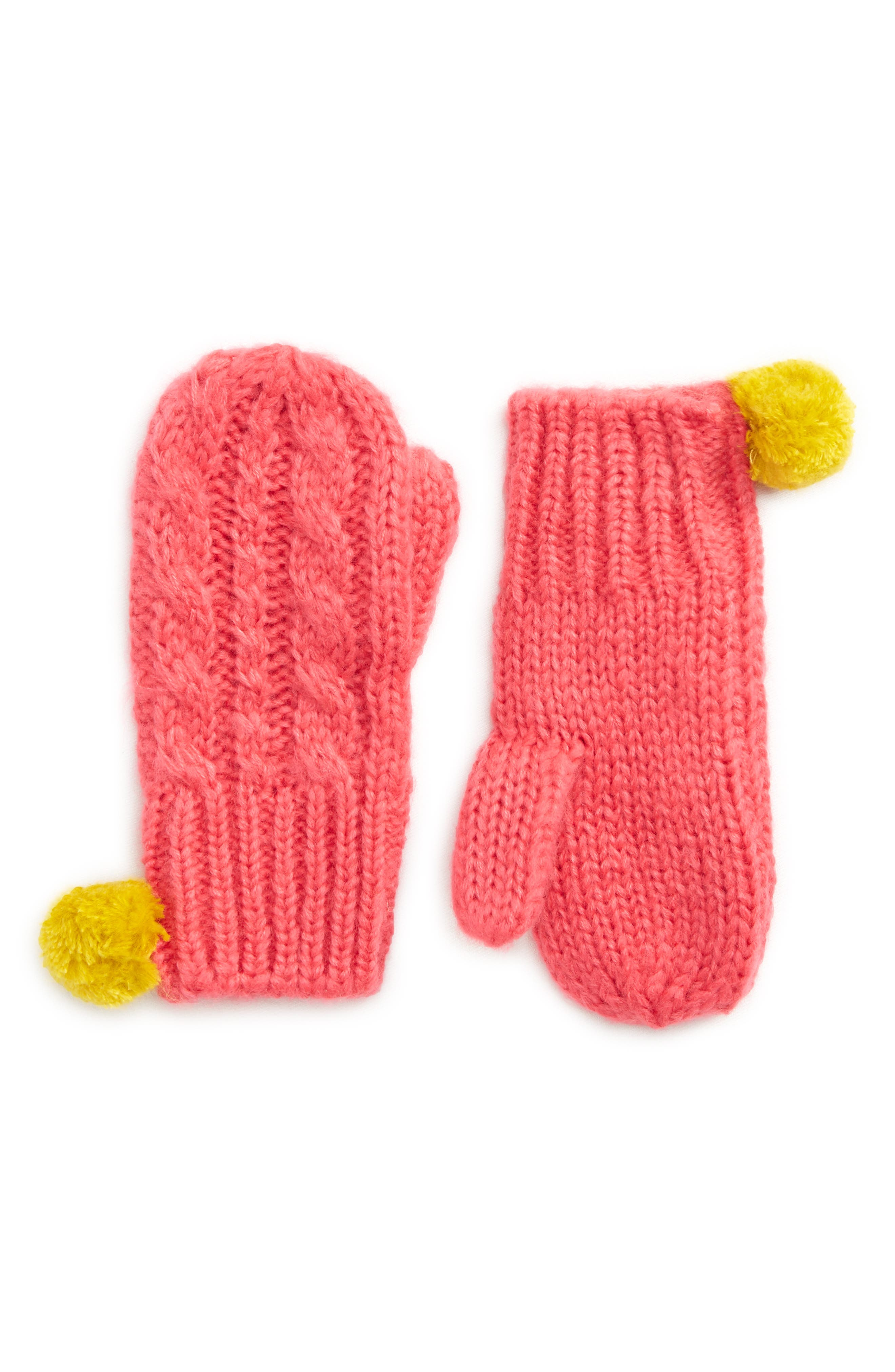Mini Boden Cable Knit Mittens (Toddler Girls, Little Girls & Big Girls)