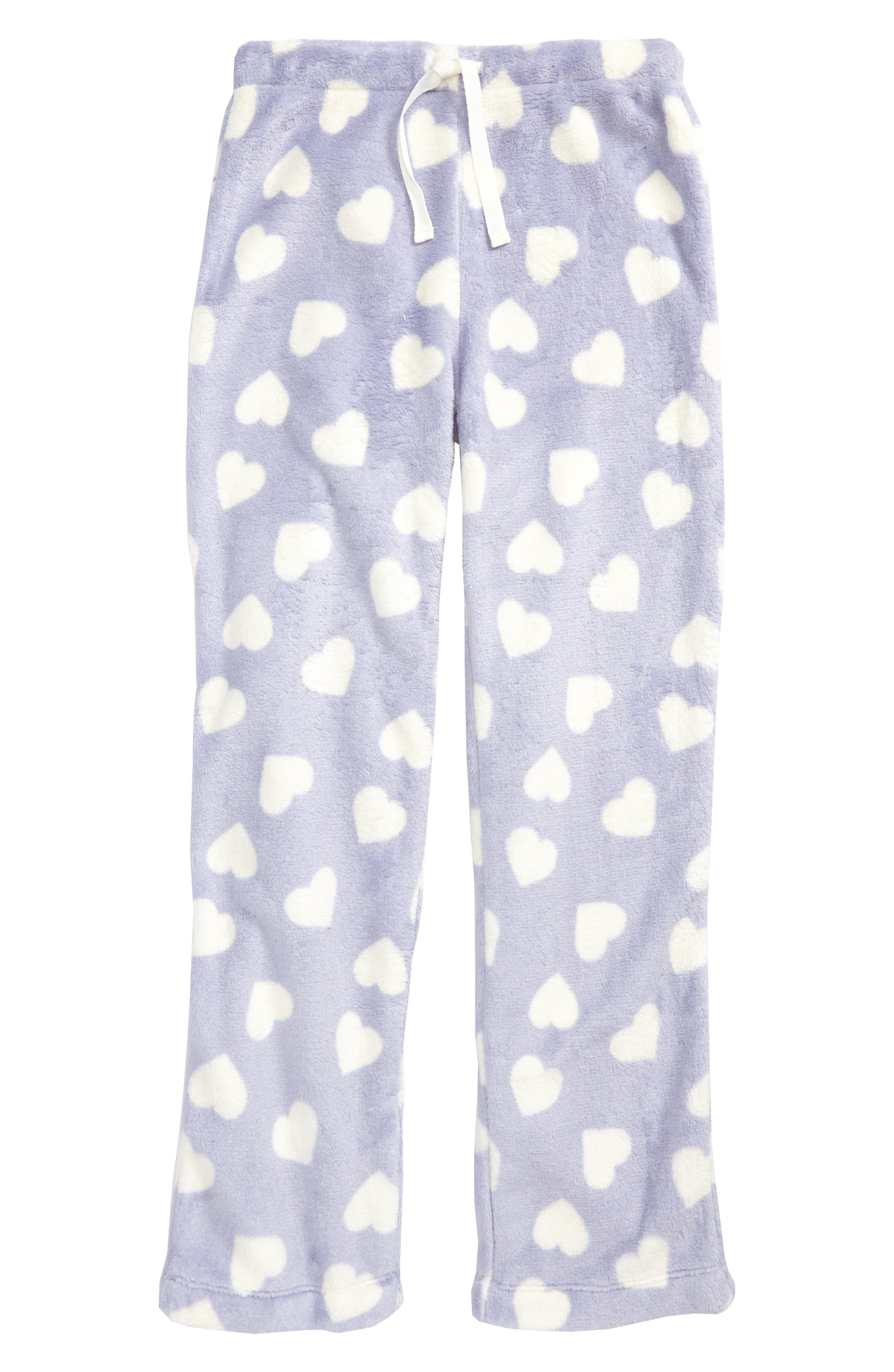 Fleece Pajama Pants,                             Main thumbnail 1, color,                             Purple Cosmic Hearts