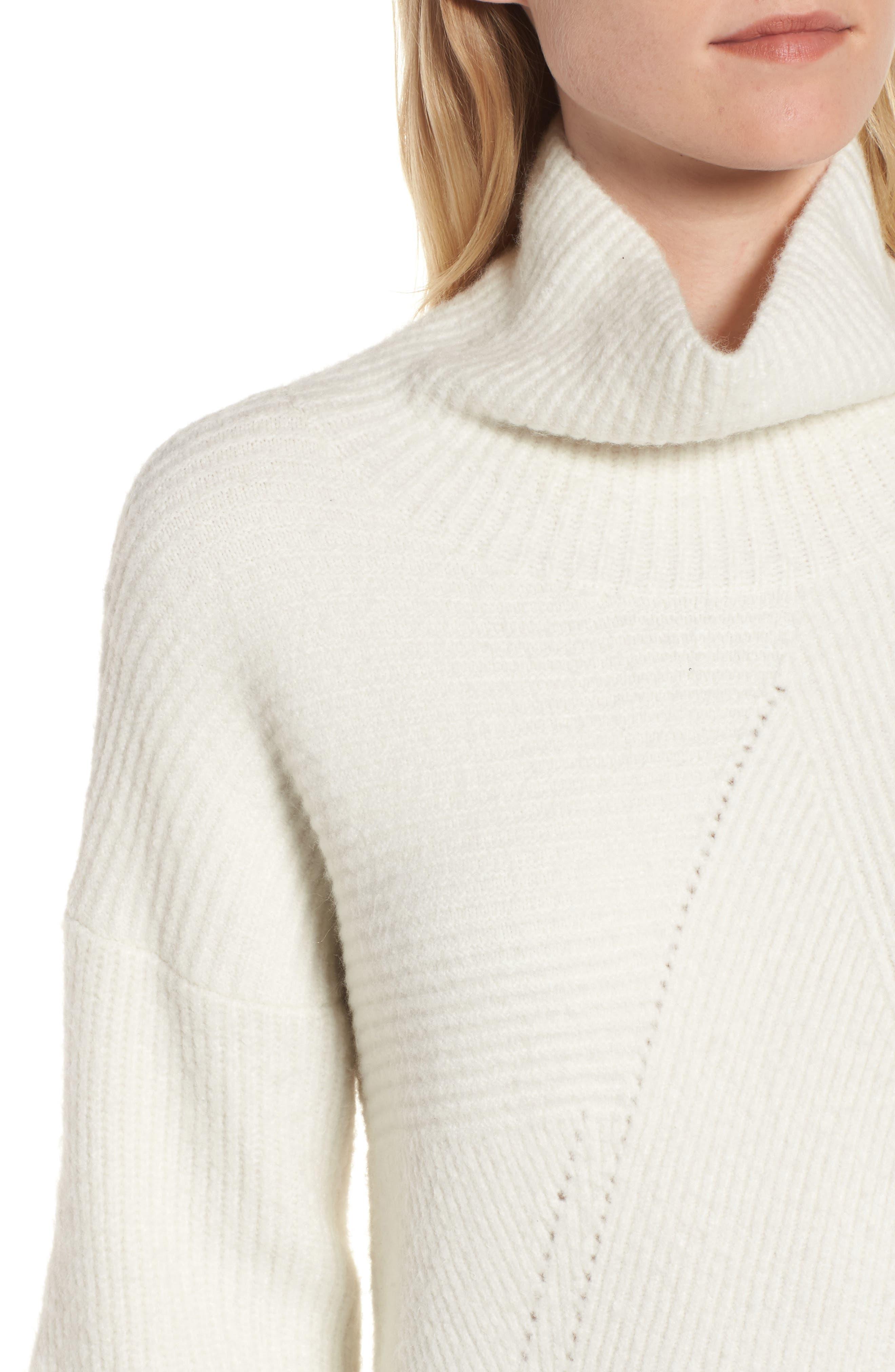 Funnel Neck Sweater,                             Alternate thumbnail 5, color,                             Ivory Vanilla