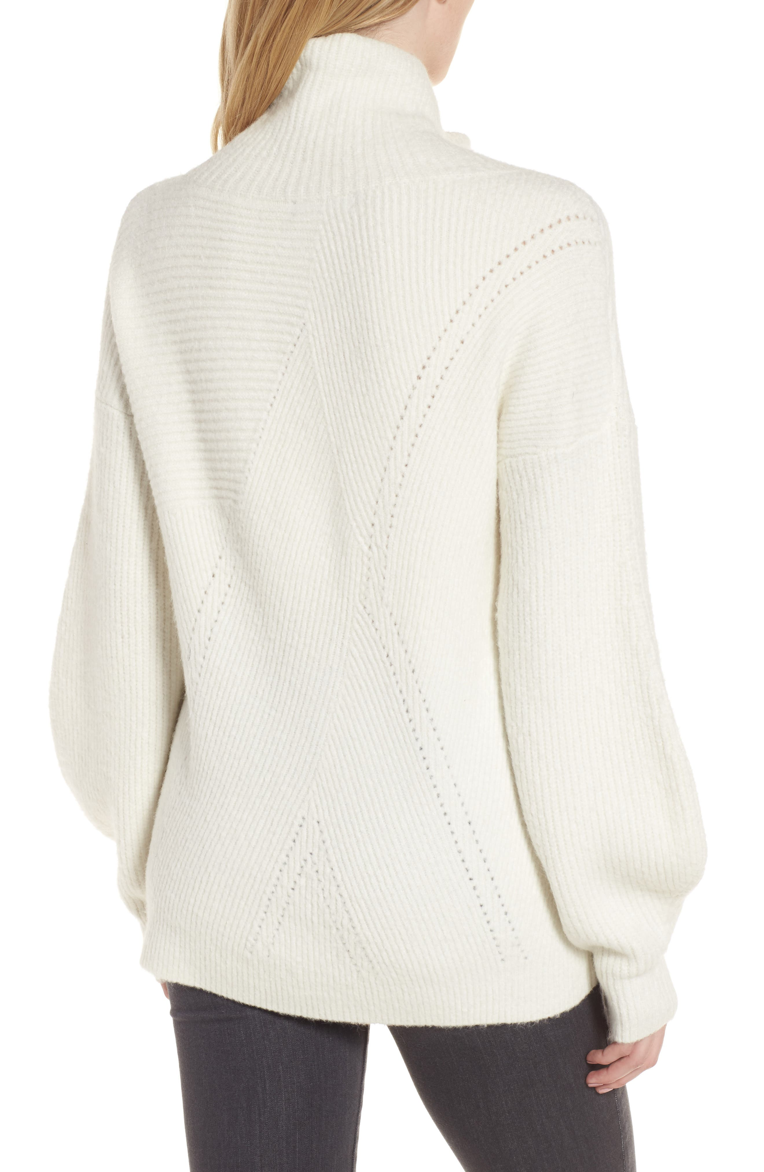 Funnel Neck Sweater,                             Alternate thumbnail 3, color,                             Ivory Vanilla