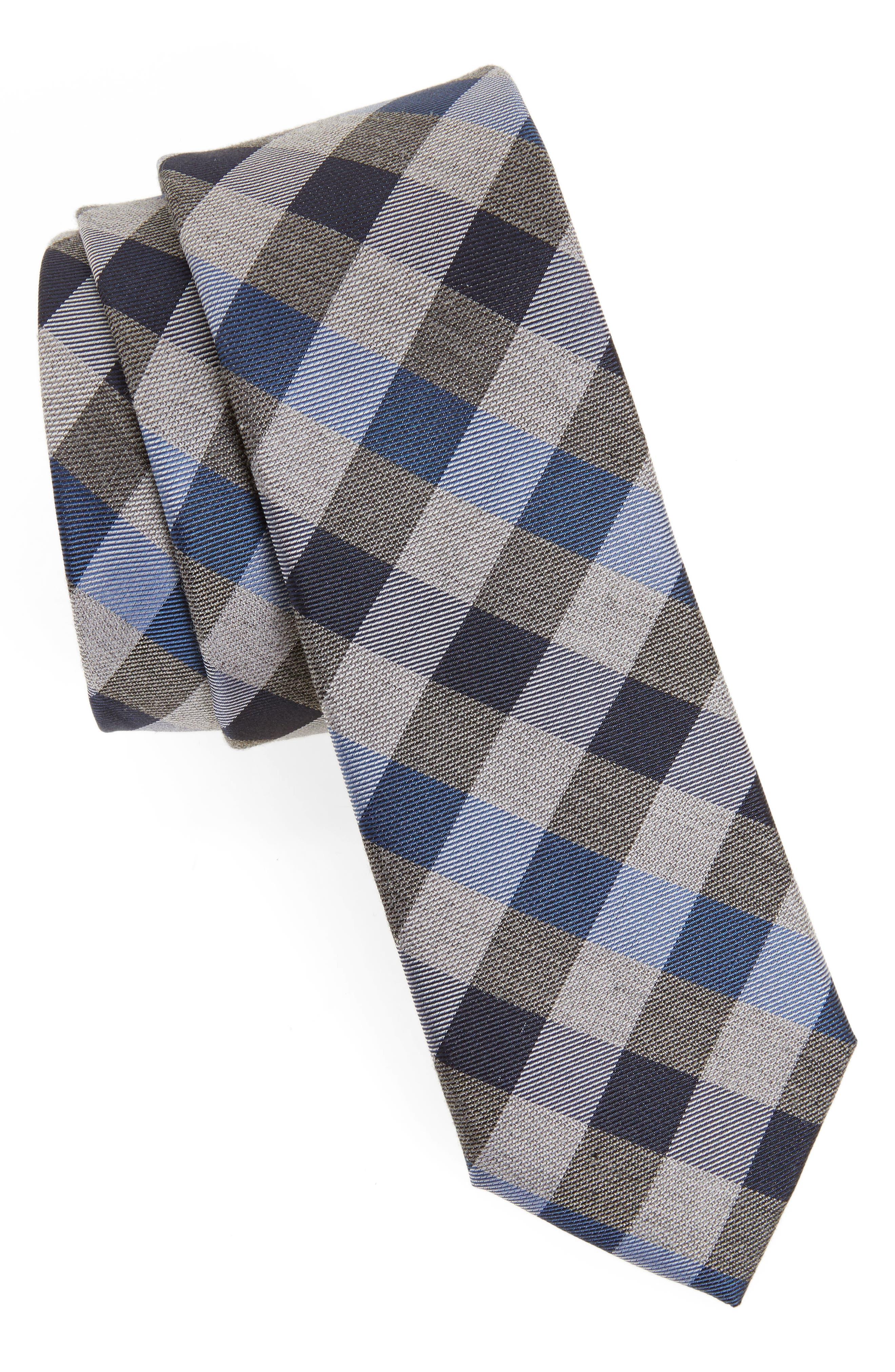 Schoolboy Gingham Check Silk Tie,                         Main,                         color, Navy