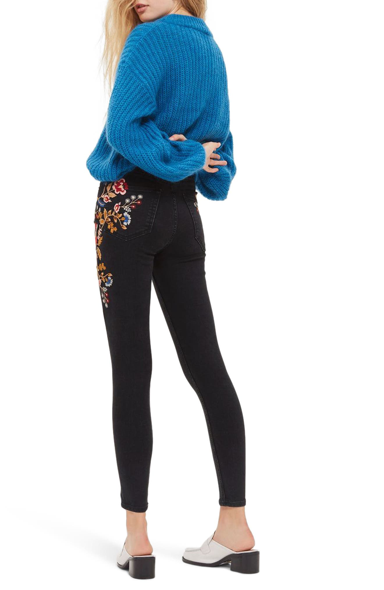Jamie Embroidered High Waist Skinny Jeans,                             Alternate thumbnail 2, color,                             Washed Black Multi
