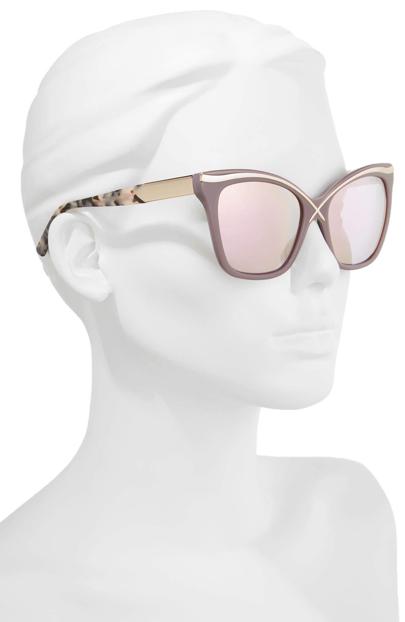 57mm Square Cat Eye Sunglasses,                             Alternate thumbnail 2, color,                             Grey