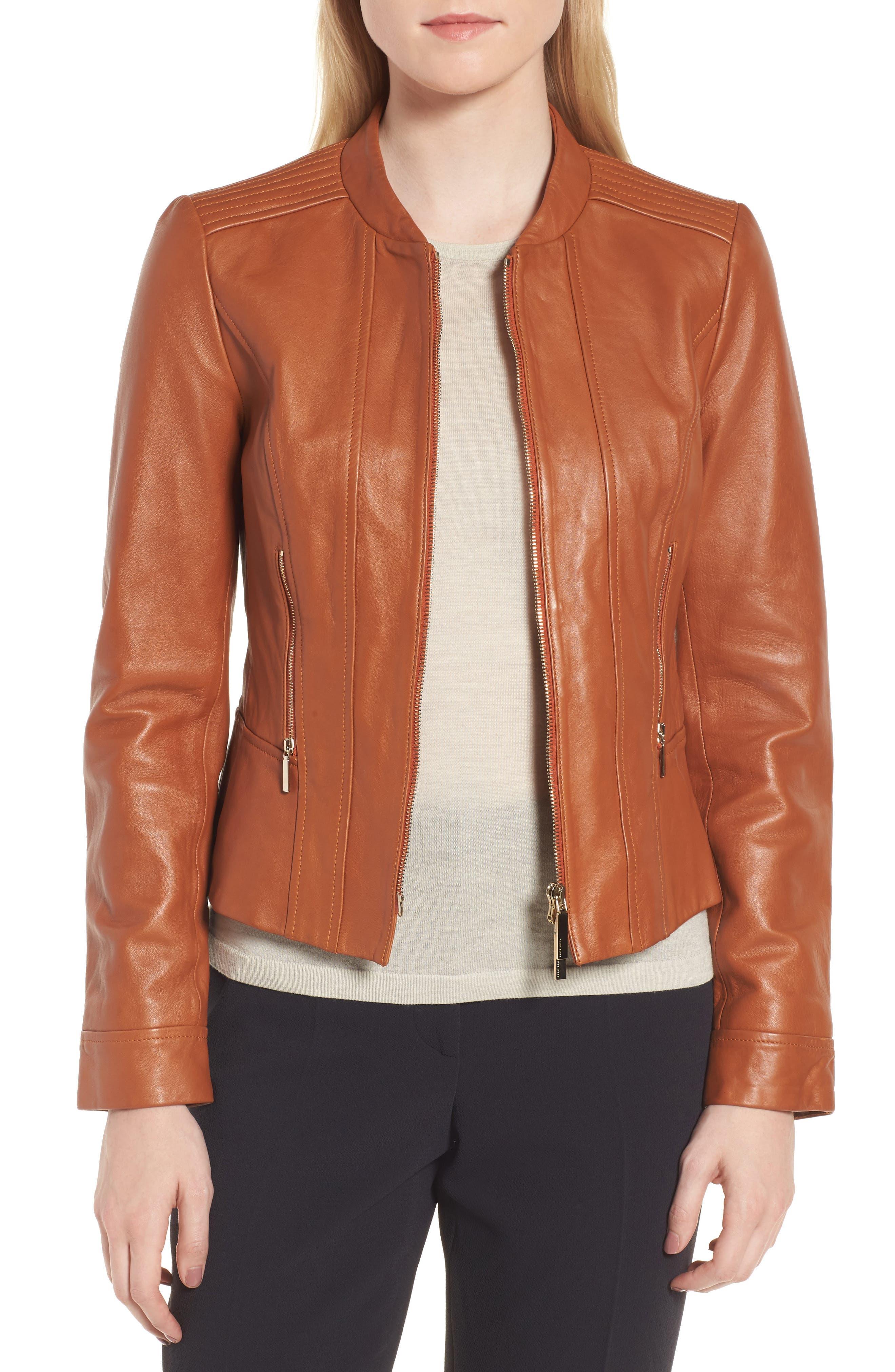 Sabiza Leather Jacket,                         Main,                         color, Brass