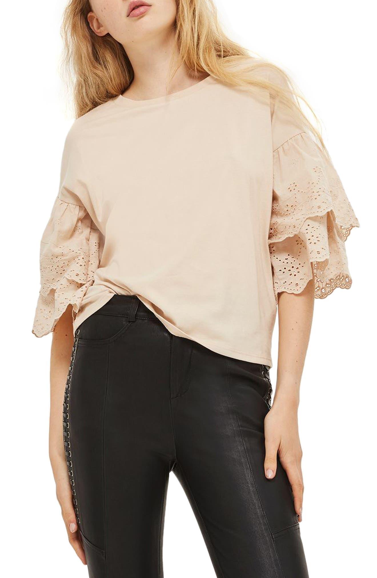 Eyelet Layer Sleeve Tee T-Shirt,                         Main,                         color, Blush