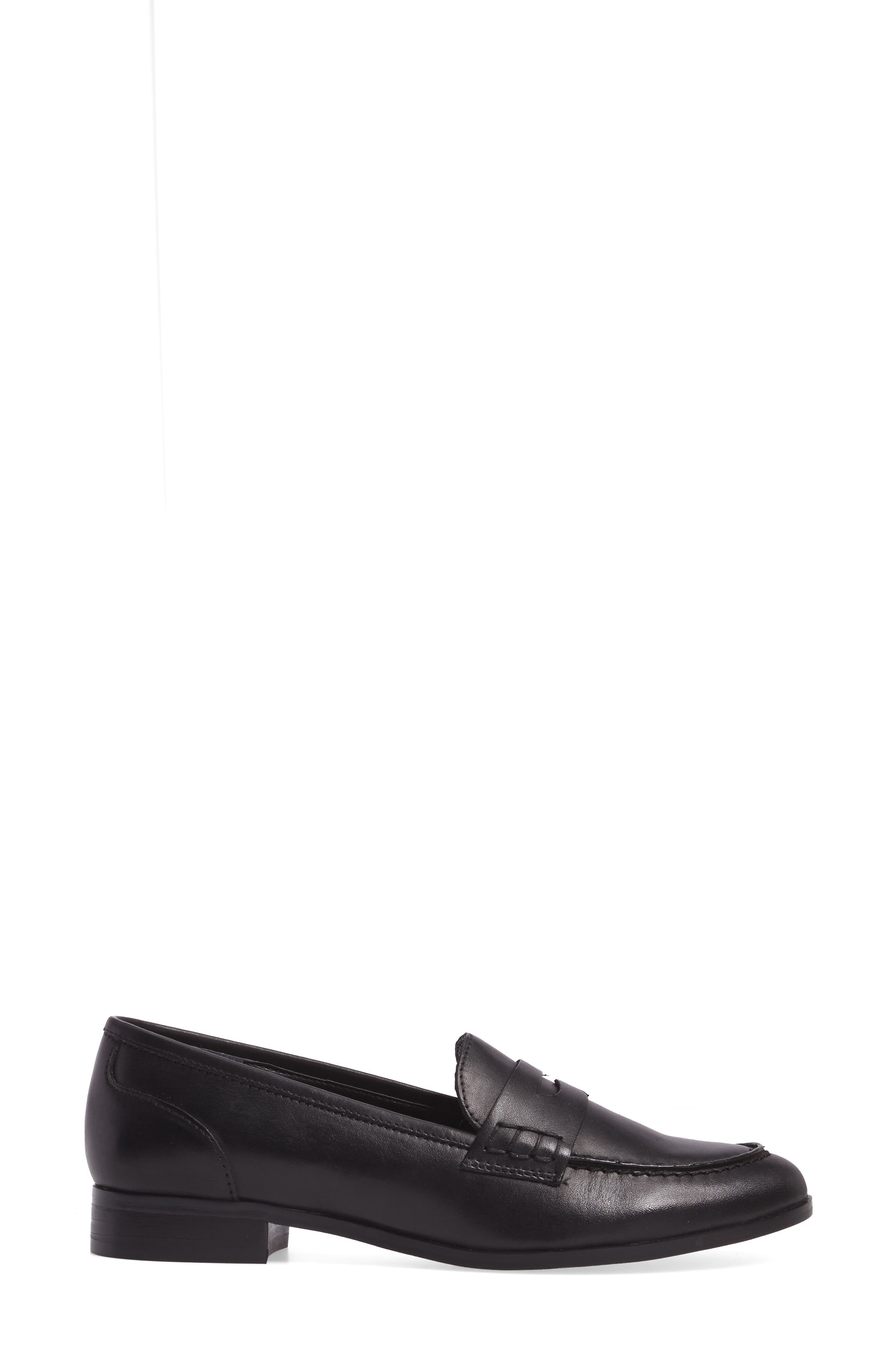Georgie Penny Loafer,                             Alternate thumbnail 3, color,                             Black Leather