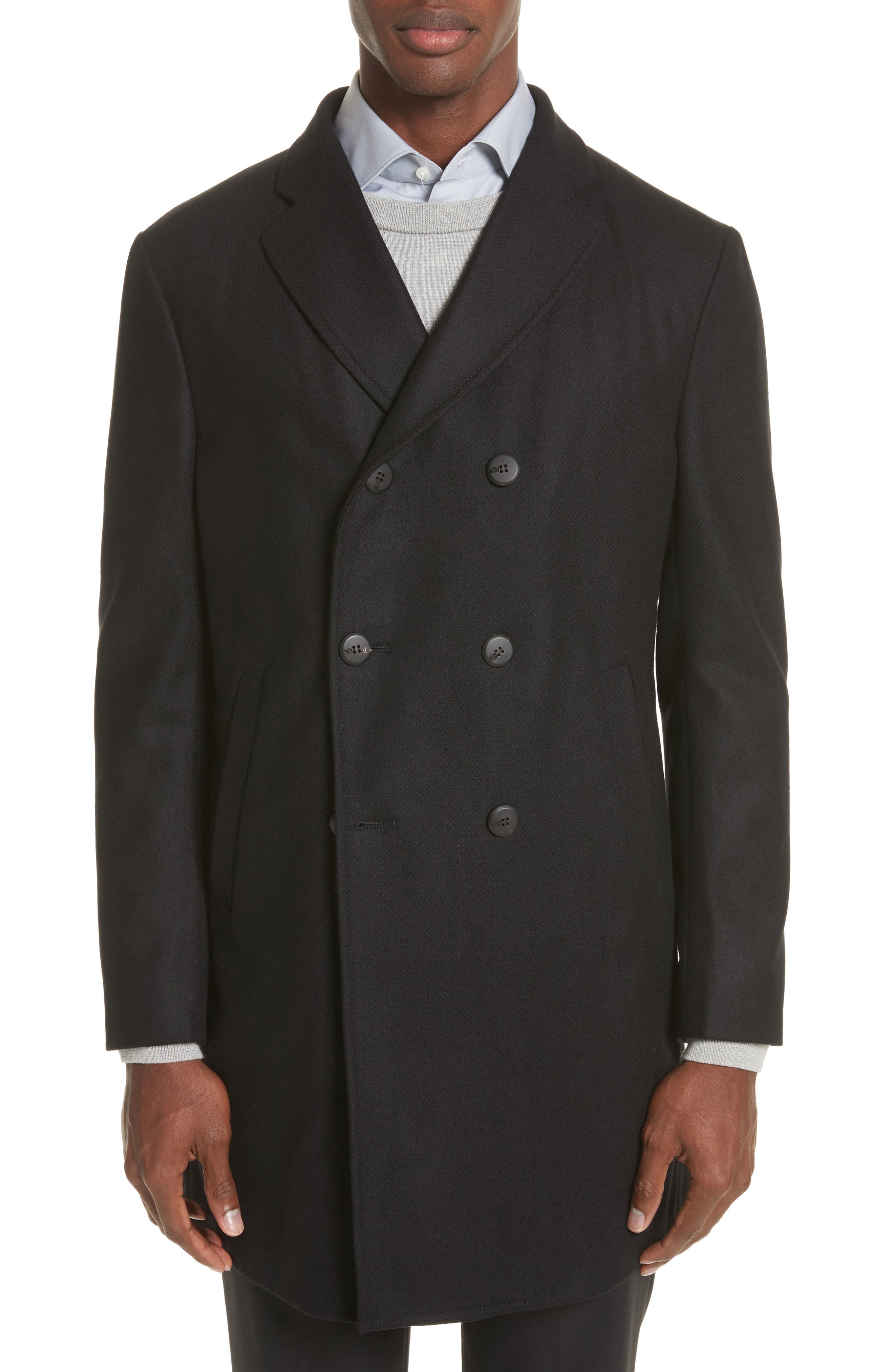 Double-Breasted Wool Topcoat,                             Main thumbnail 1, color,                             Black