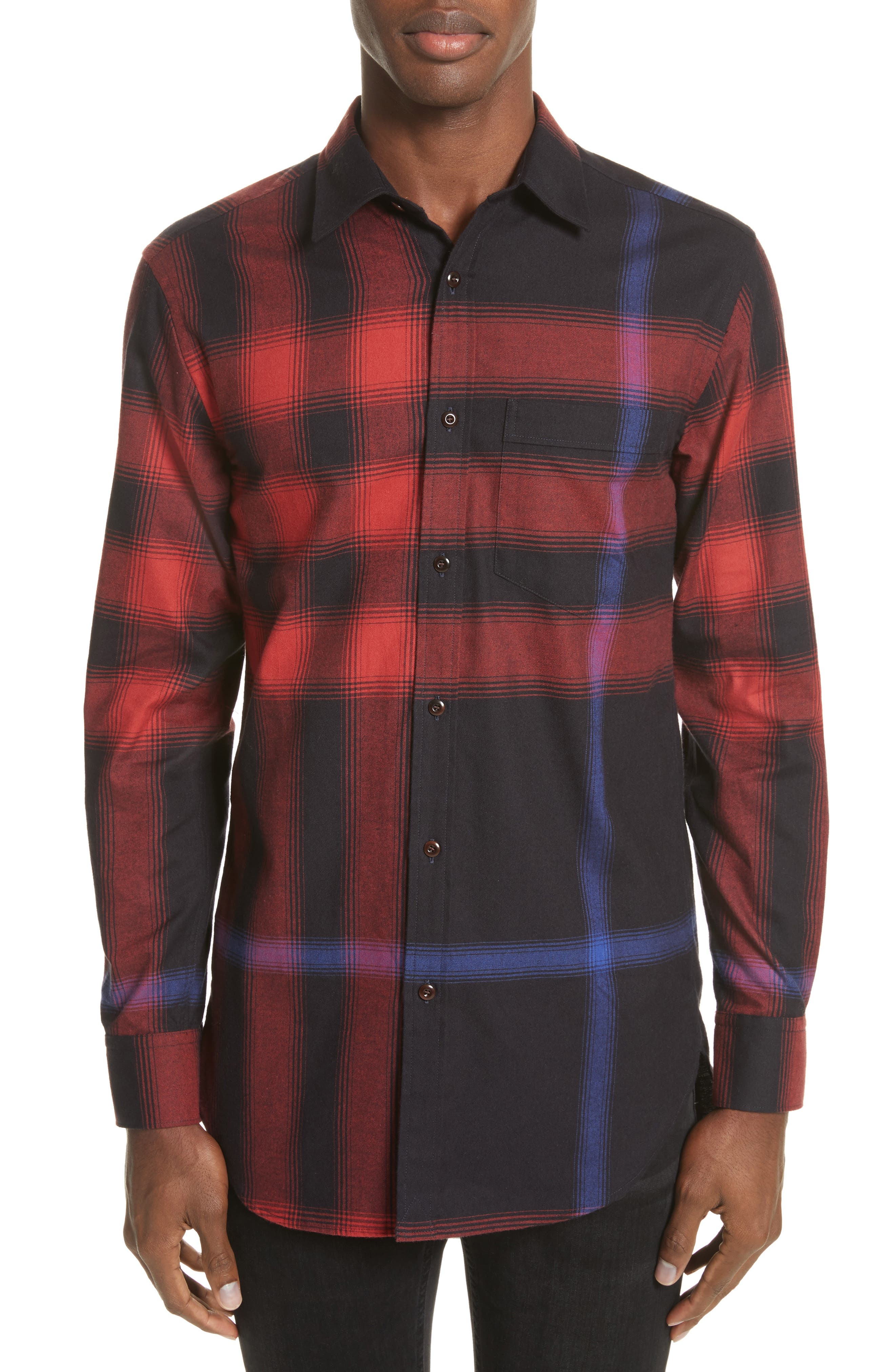 Burberry Strenton Slim Fit Plaid Long Sport Shirt