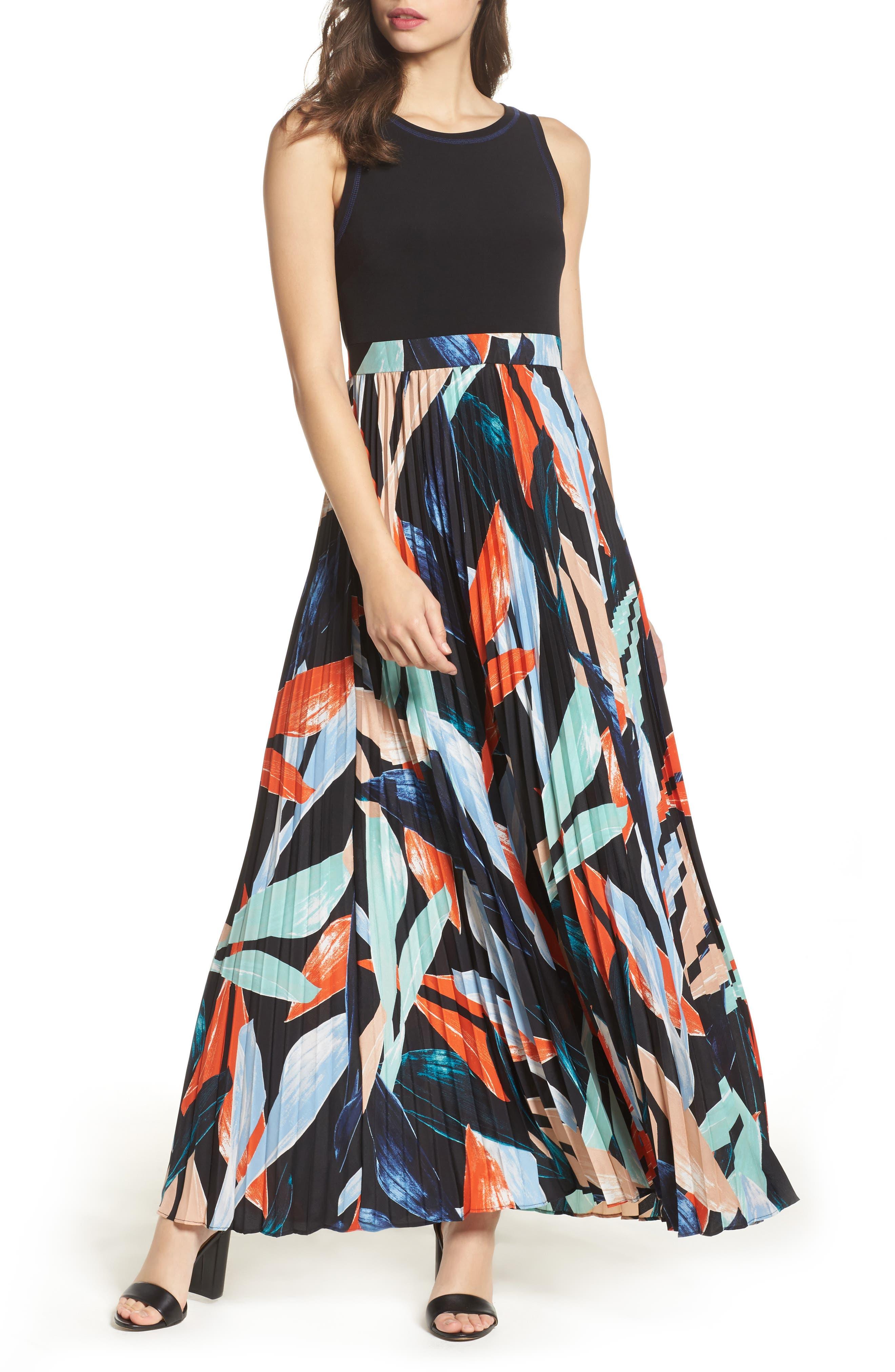 Vince Camuto Pleated Maxi Dress (Regular & Petite)