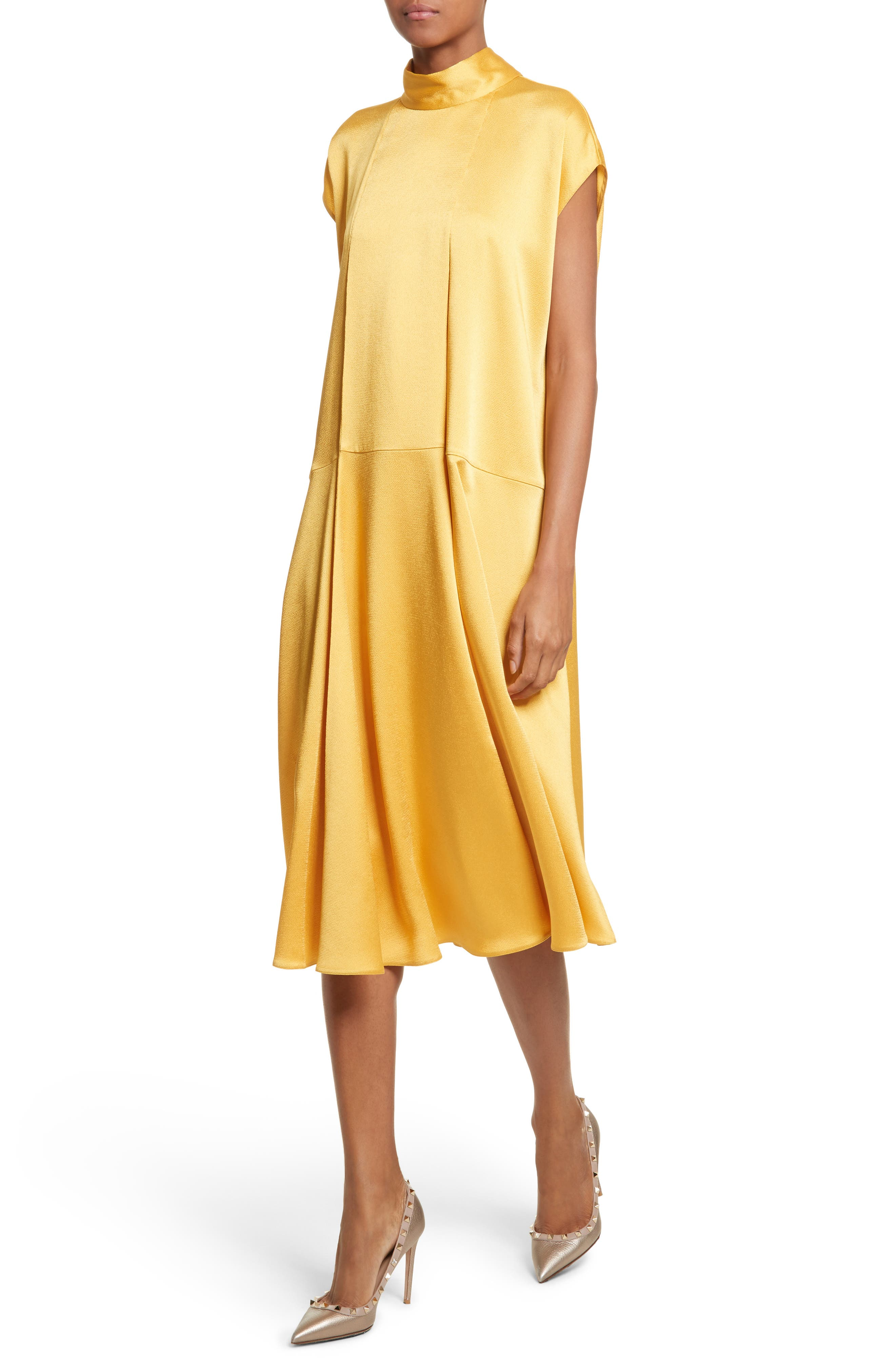 Hammered Satin Midi Dress,                             Alternate thumbnail 3, color,                             Canary Yellow