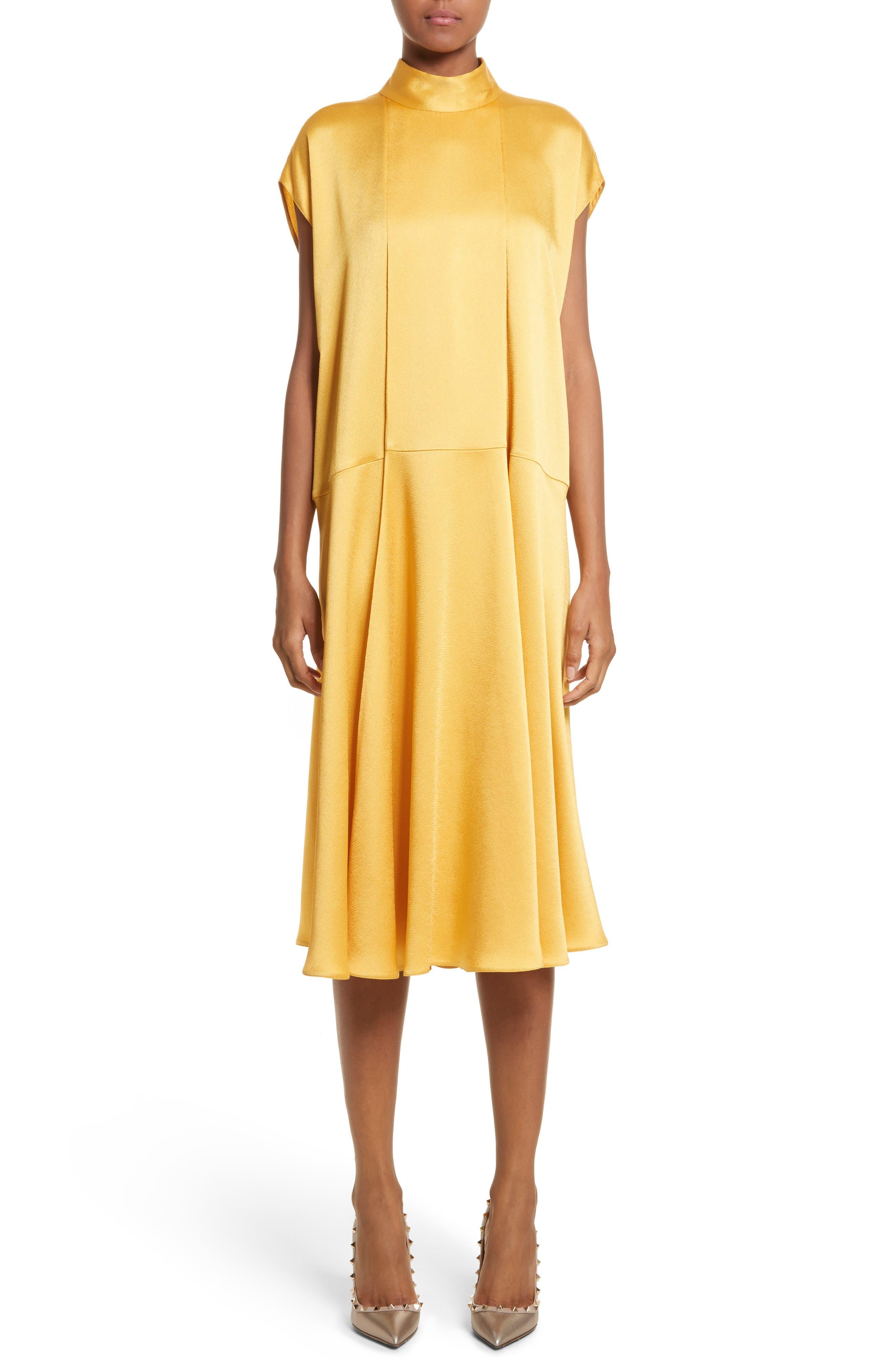 Hammered Satin Midi Dress,                         Main,                         color, Canary Yellow