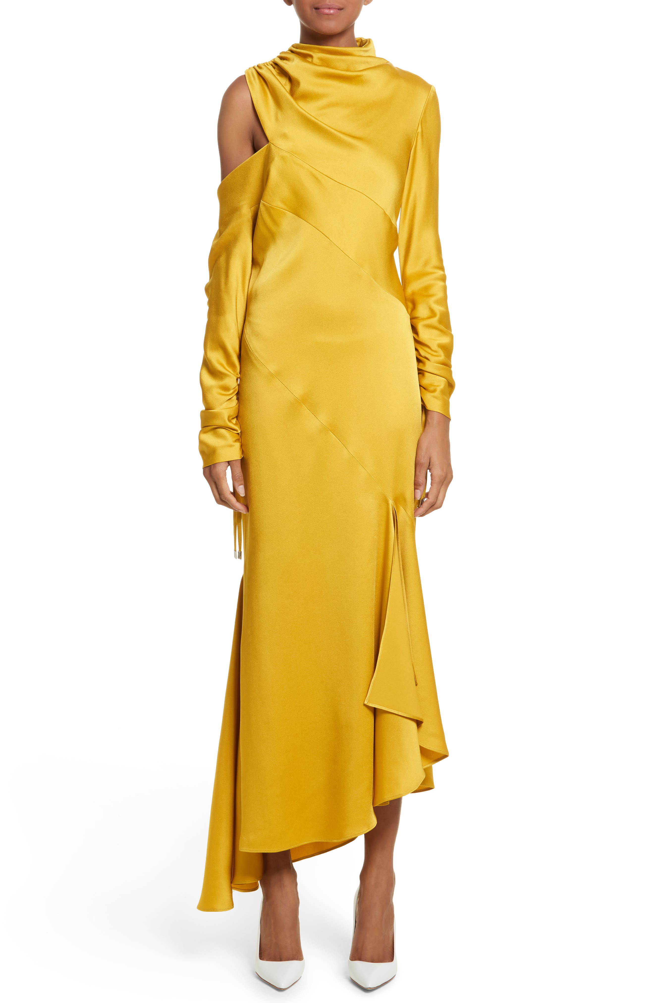 Crepe Back Satin Cold Shoulder Dress,                             Main thumbnail 1, color,                             Yellow