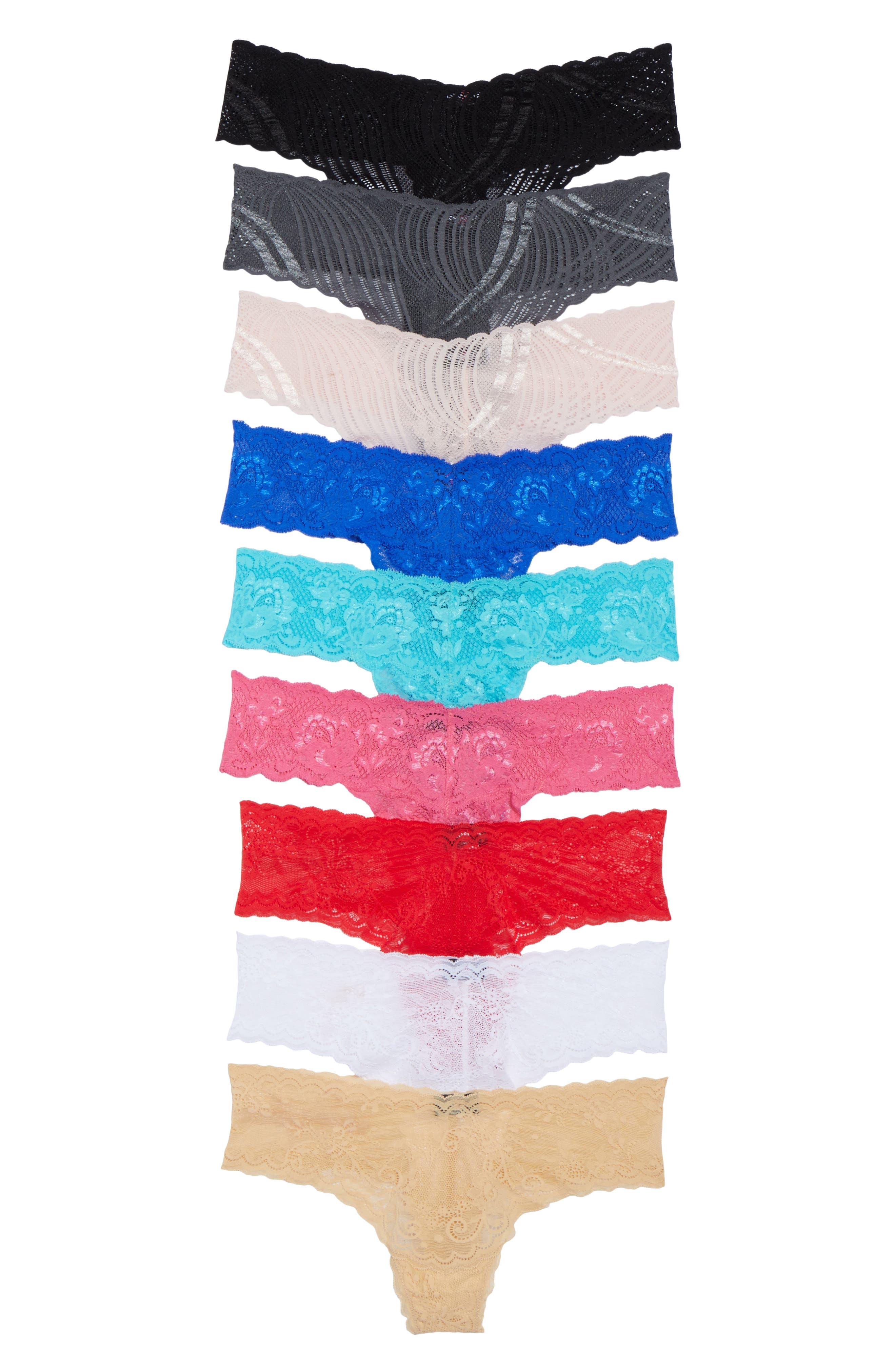 Box of Love 9-Pack Lace Thongs,                             Alternate thumbnail 2, color,                             Multi