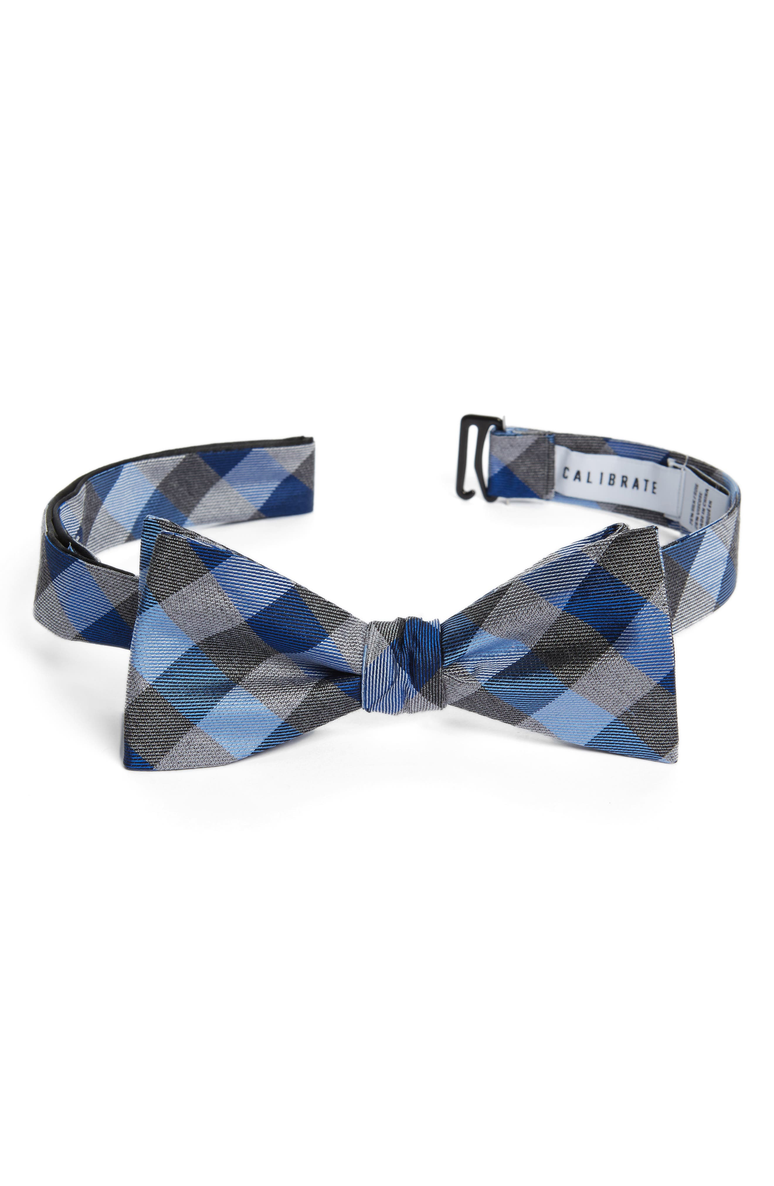 Gingham Silk Bow Tie,                         Main,                         color, Navy