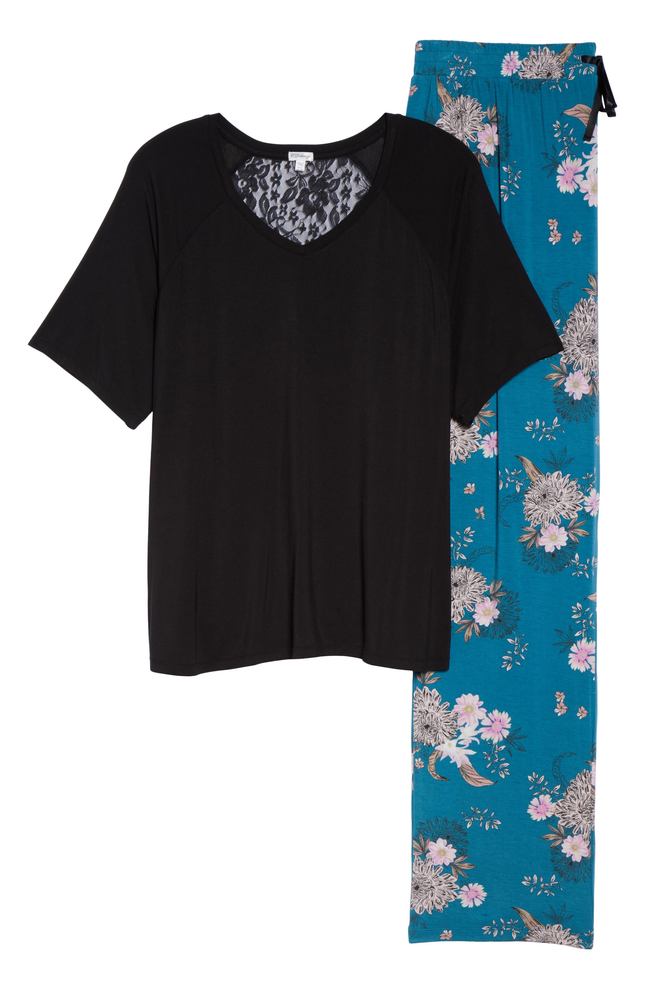 Pajamas,                             Alternate thumbnail 7, color,                             Teal