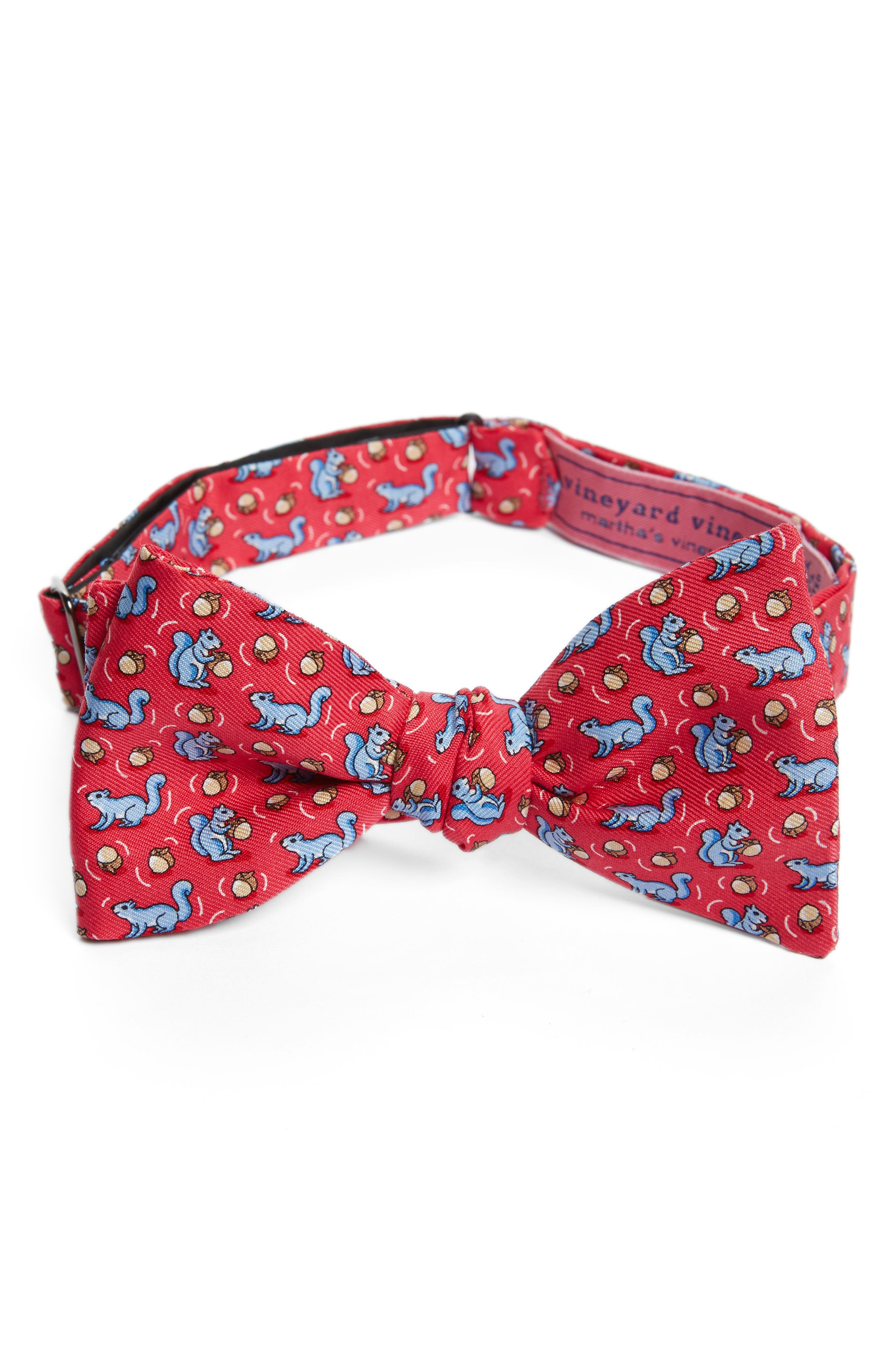 Squirrel Silk Bow Tie,                         Main,                         color, Raspberry