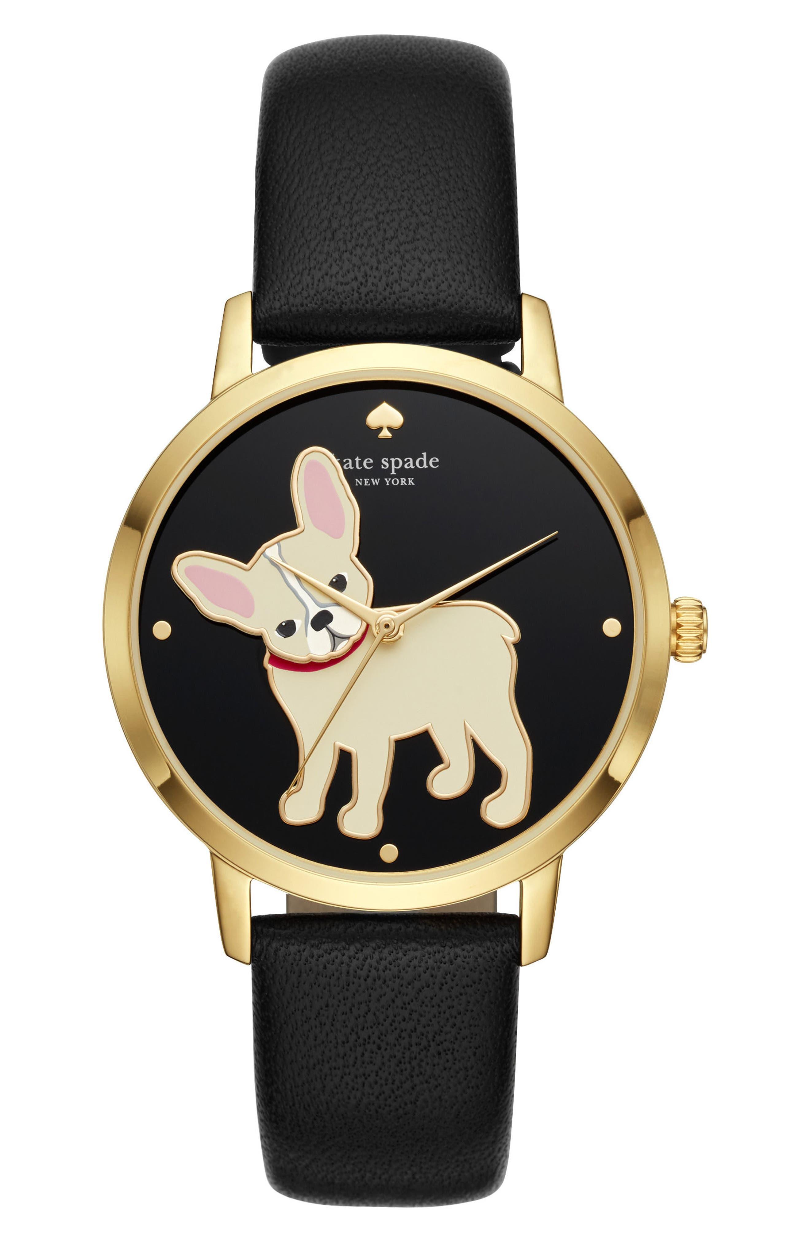 grand metro bulldog leather strap watch, 38mm,                         Main,                         color, Black/ Gold