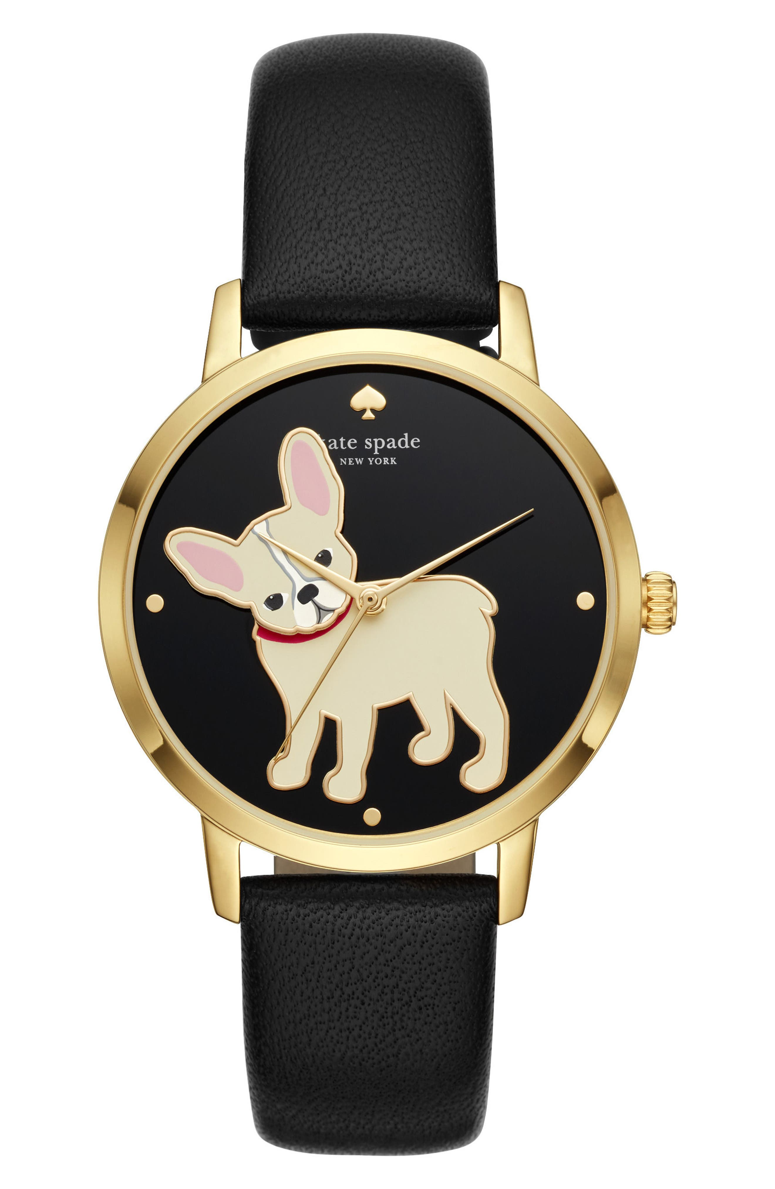 kate spade new york grand metro bulldog leather strap watch, 38mm