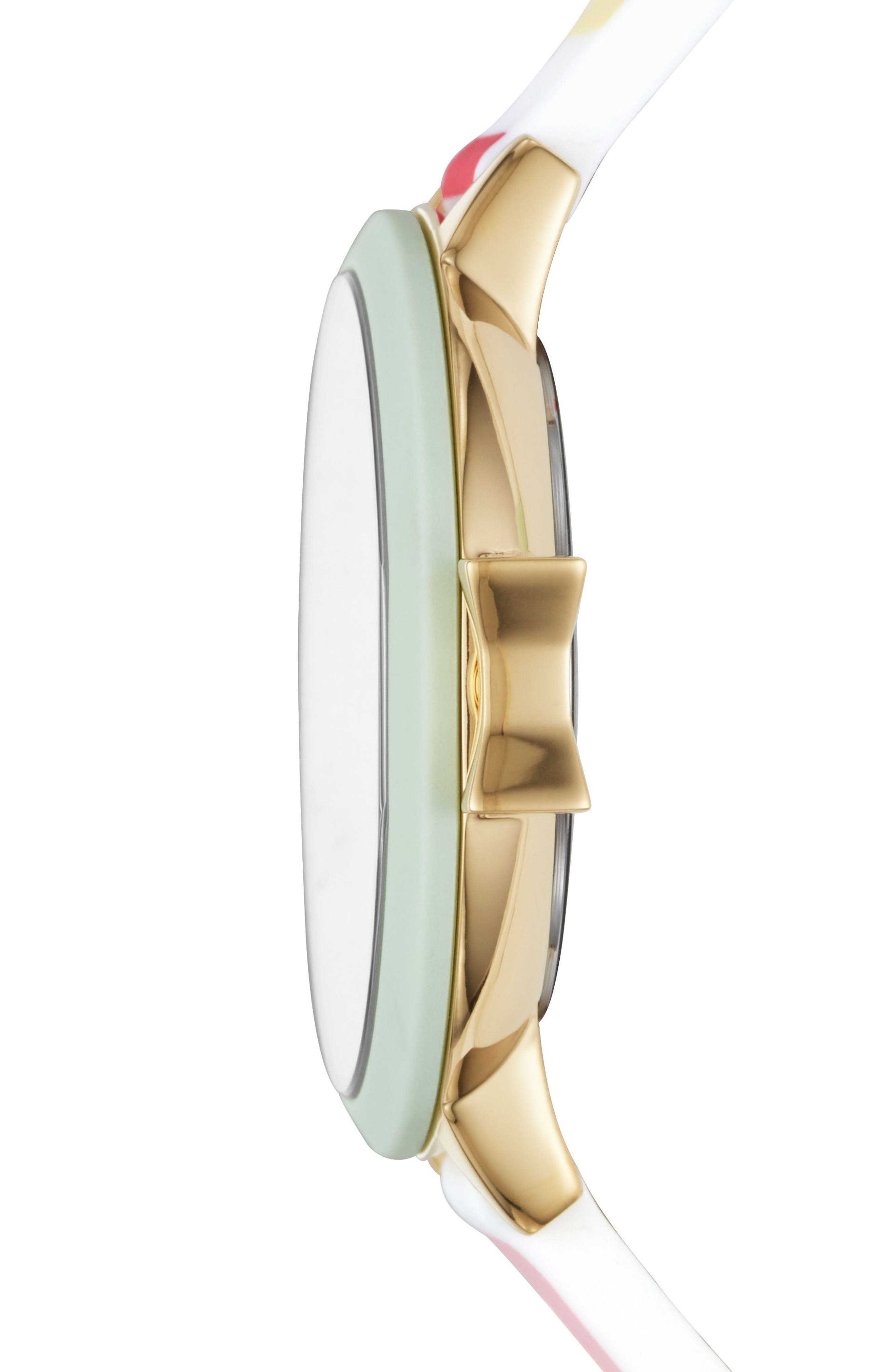 park row silicone strap watch, 34mm,                             Alternate thumbnail 2, color,                             Multi/ White/ Gold