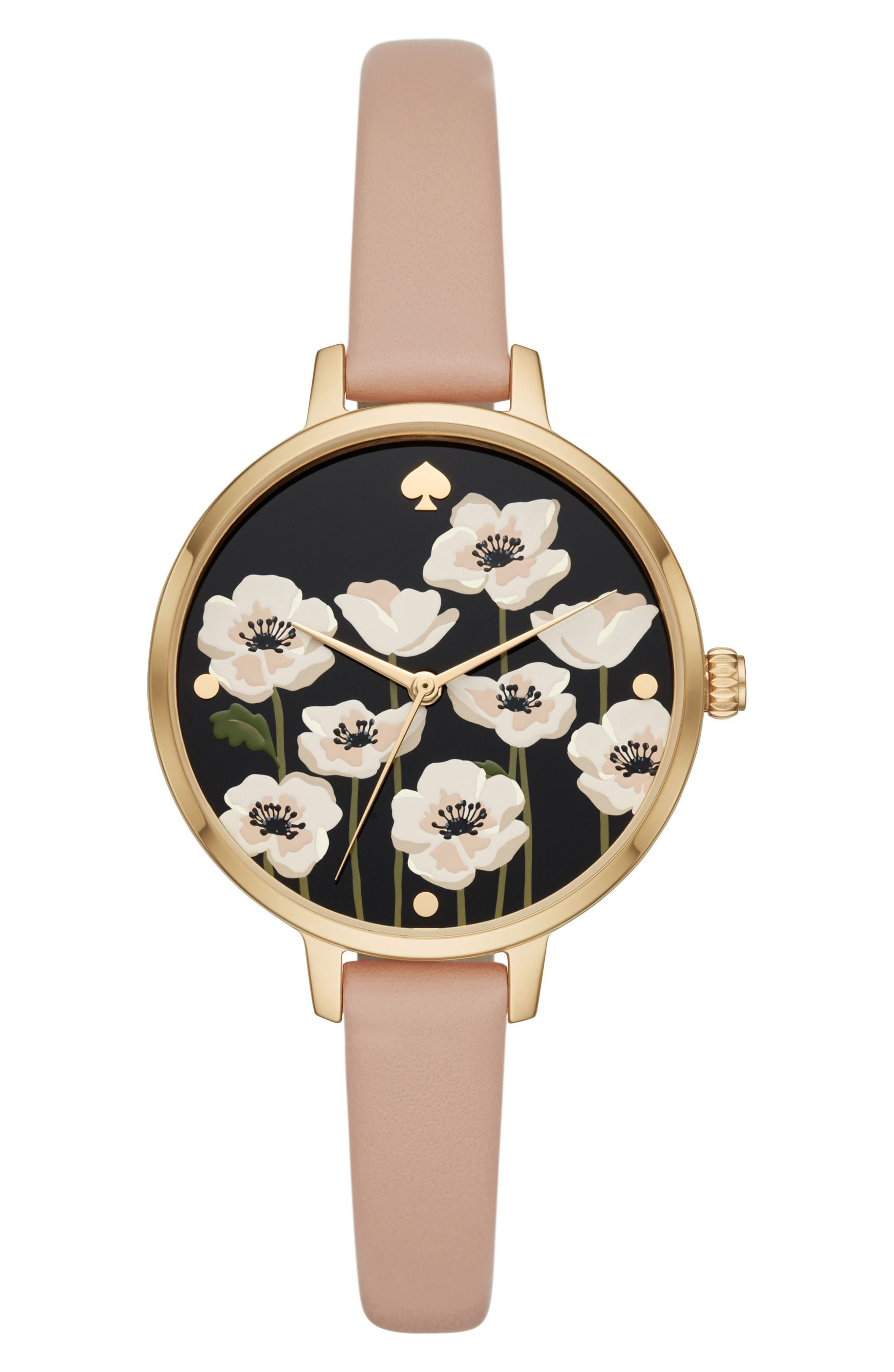 metro poppy watch & earring set, 34mm,                             Main thumbnail 1, color,                             Nude/ Gold