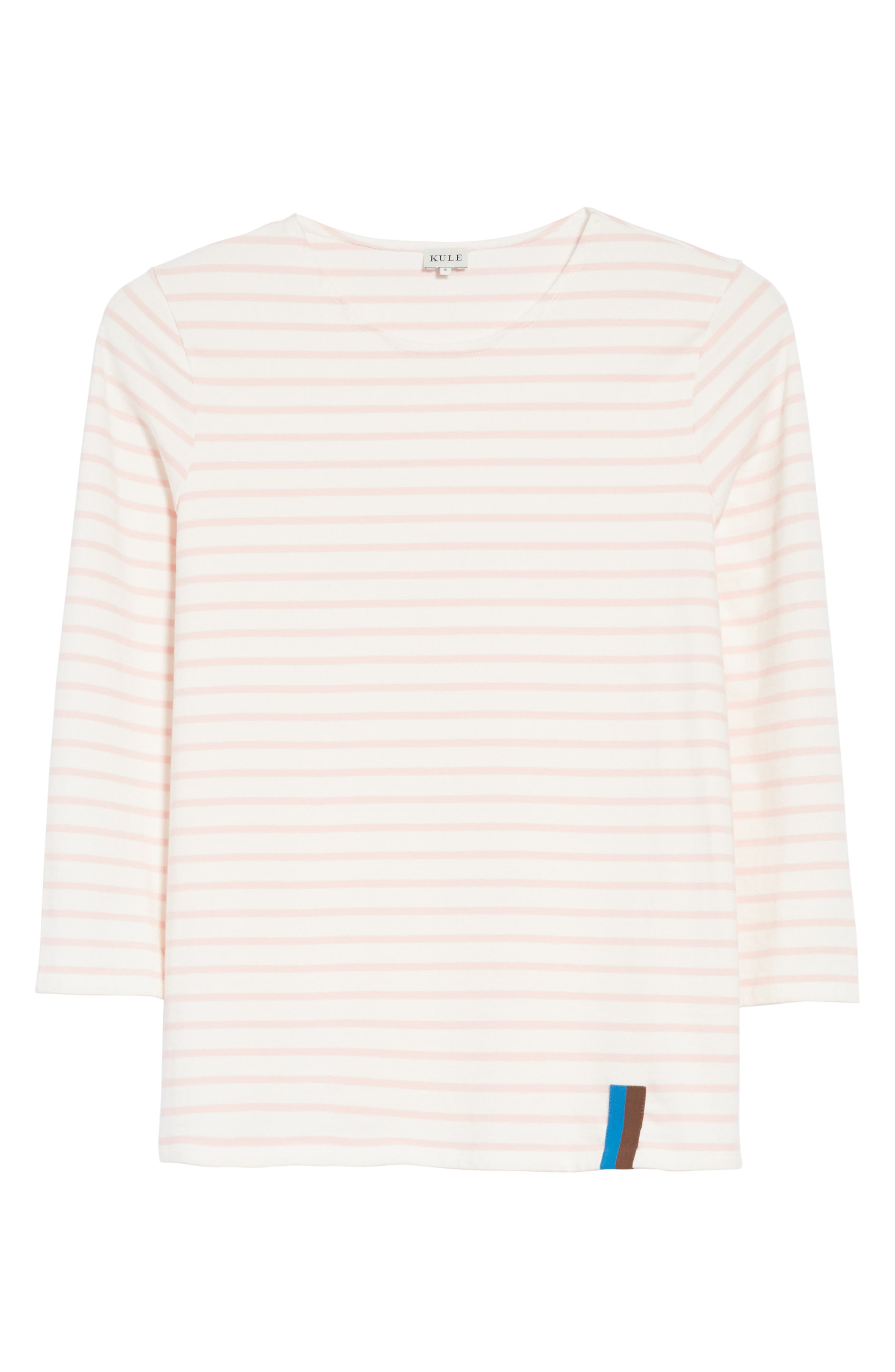The Classic Stripe Tee,                             Alternate thumbnail 6, color,                             White/ Pink