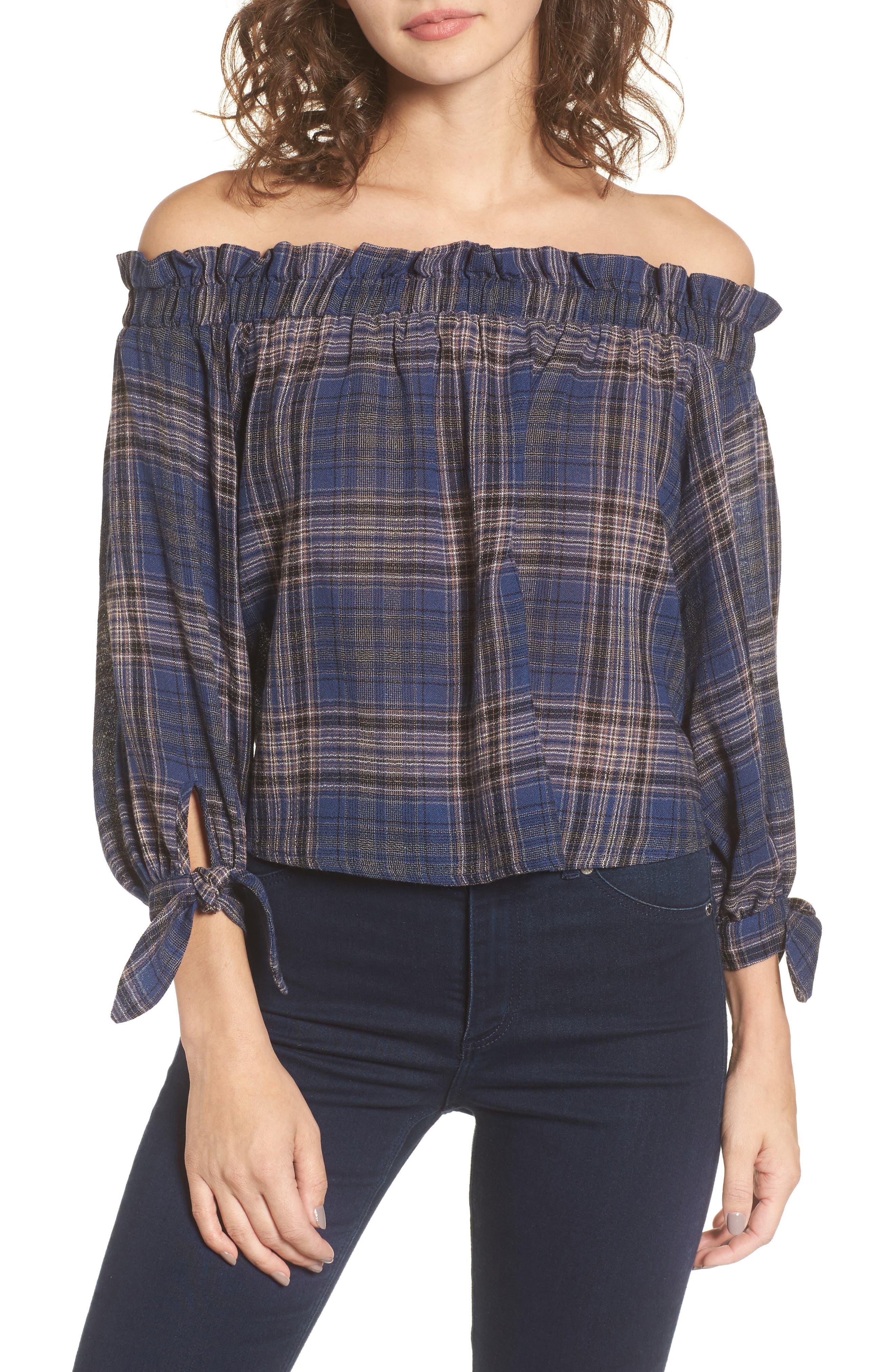 Plaid Off the Shoulder Top,                         Main,                         color, Blue/ Grey