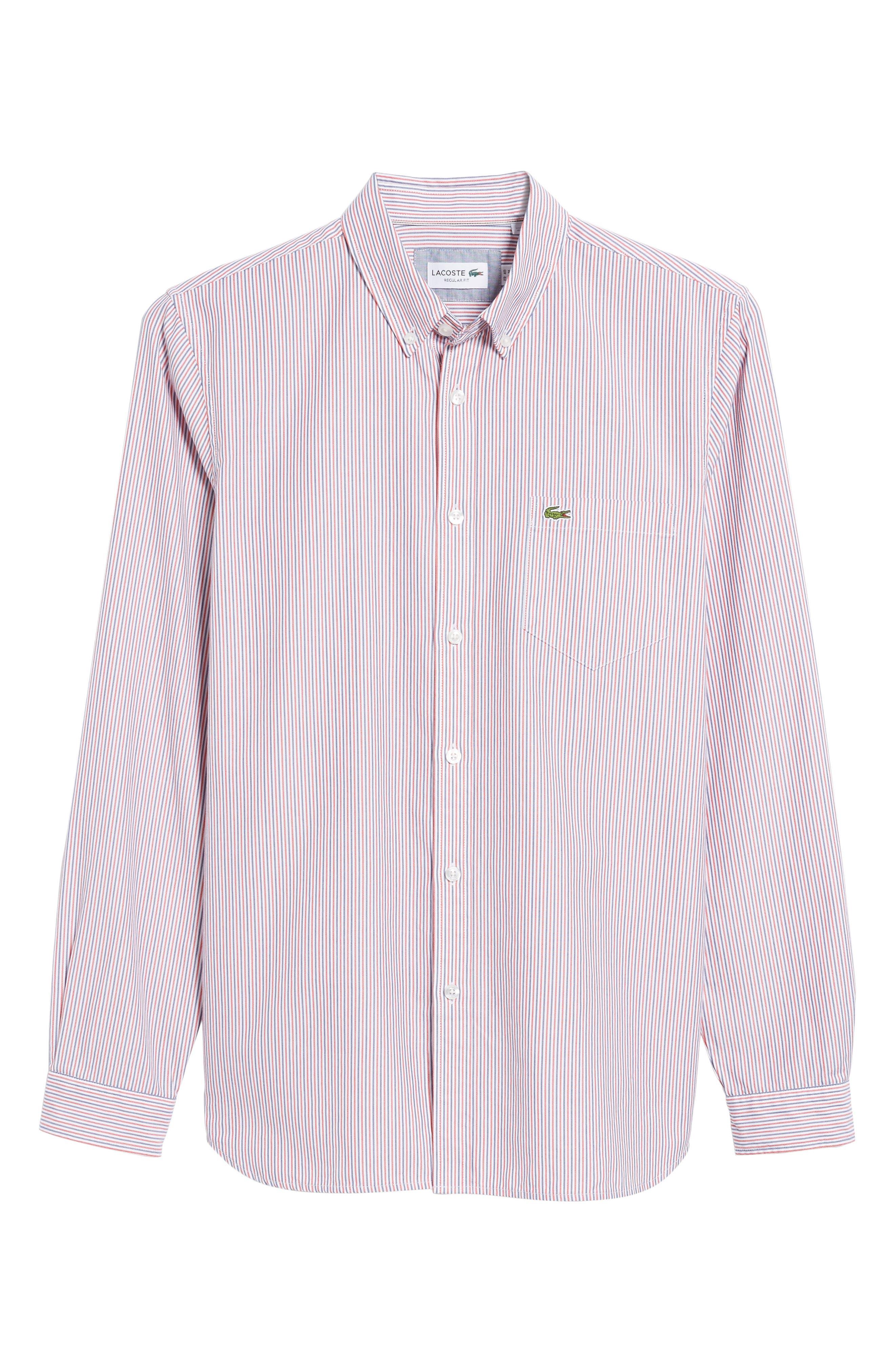 Button-Down Sport Shirt,                             Alternate thumbnail 6, color,                             Cherry Red/ Methylene-White