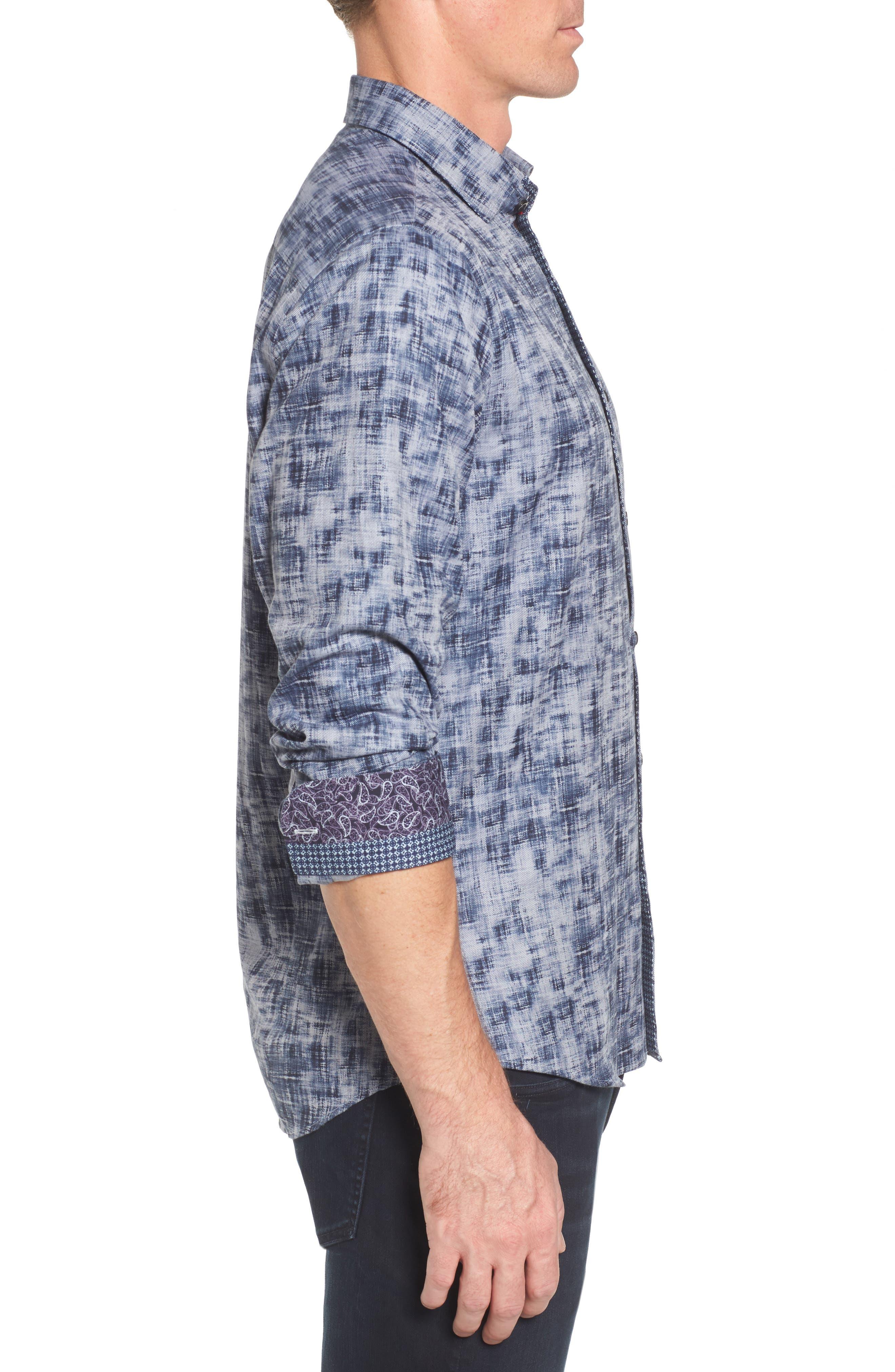 Alternate Image 3  - Stone Rose Slim Fit Twill FX Print Sport Shirt