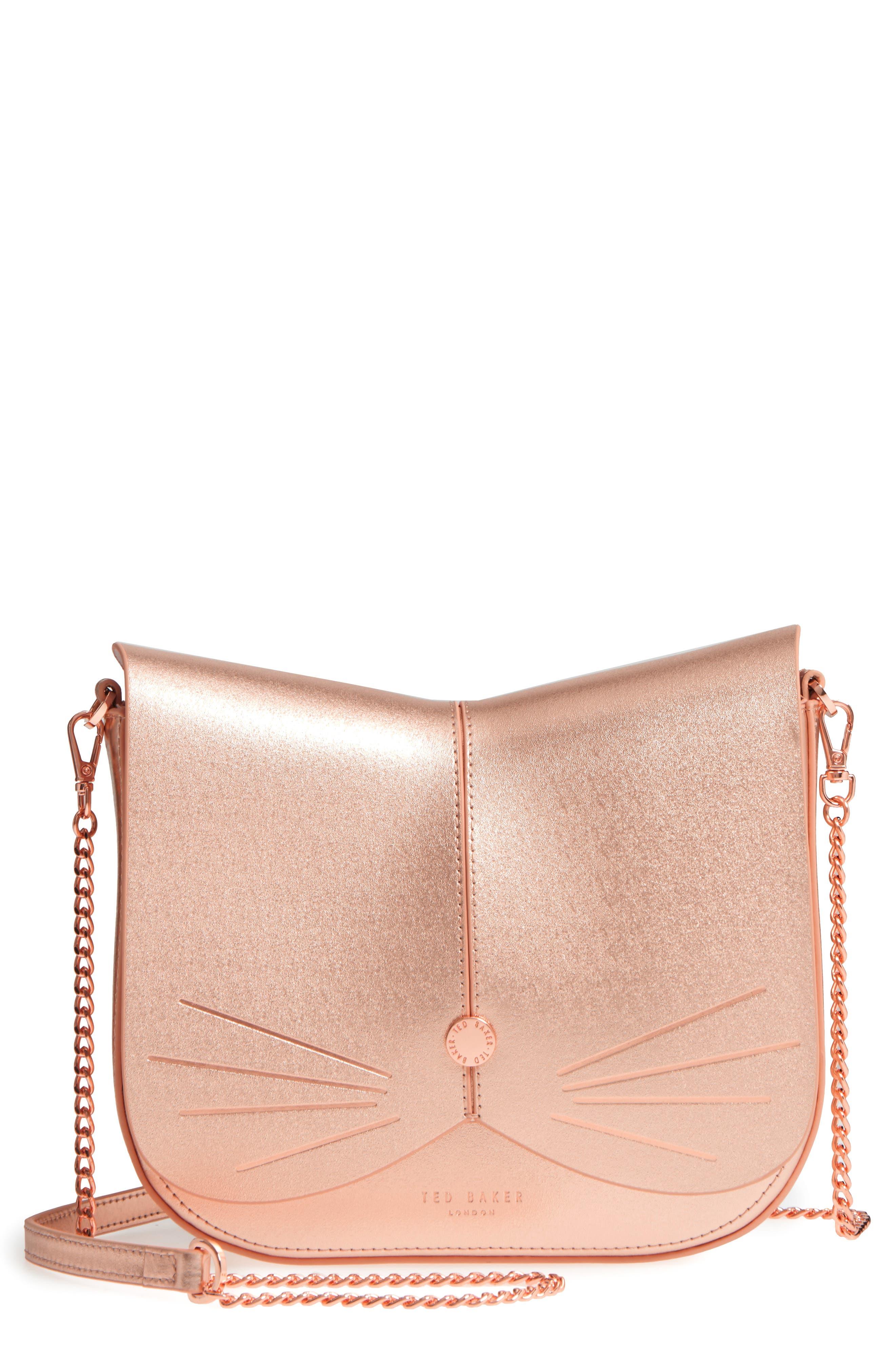Kittii Cat Leather Crossbody Bag,                         Main,                         color, Rose Gold