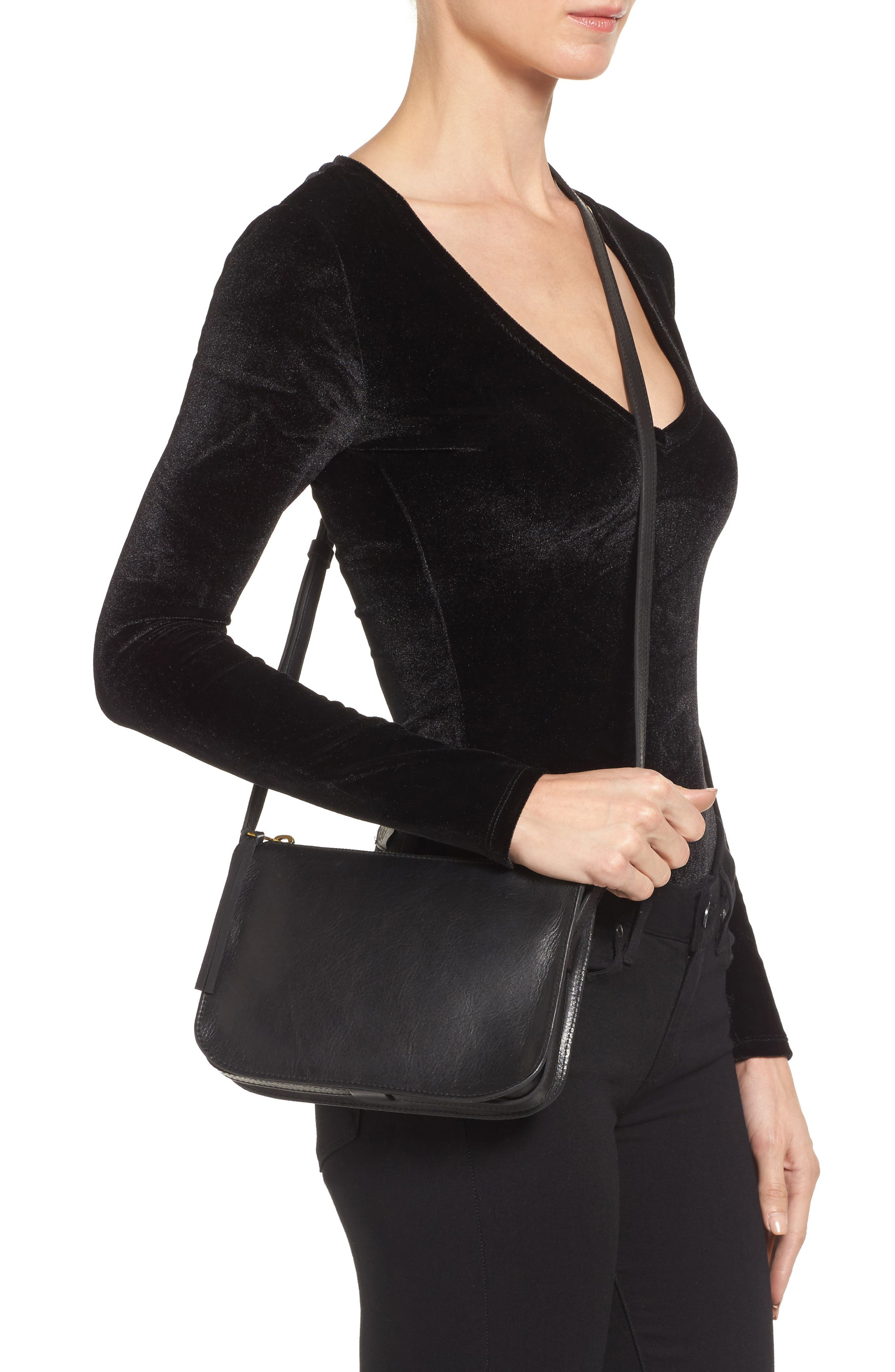 The Simple Leather Crossbody Bag,                             Alternate thumbnail 2, color,                             True Black